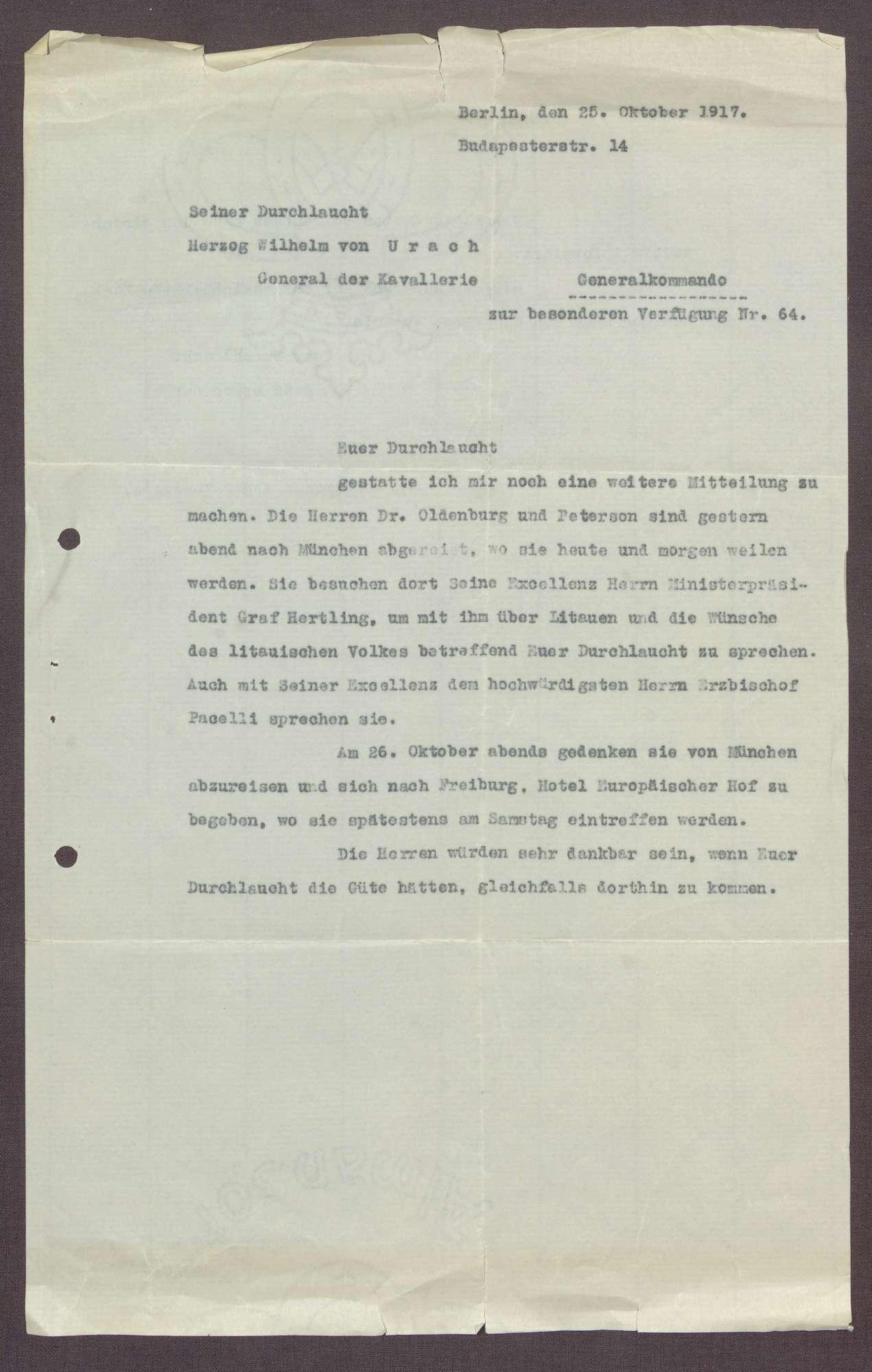 Schreiben von Matthias Erzberger an Constantin Fehrenbach, Abschrift eines Briefes an Herzog Wilhelm Karl von Urach, Bild 2