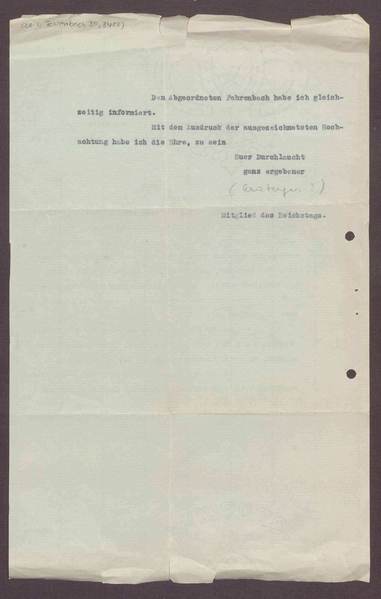 Schreiben von Matthias Erzberger an Constantin Fehrenbach, Abschrift eines Briefes an Herzog Wilhelm Karl von Urach, Bild 3