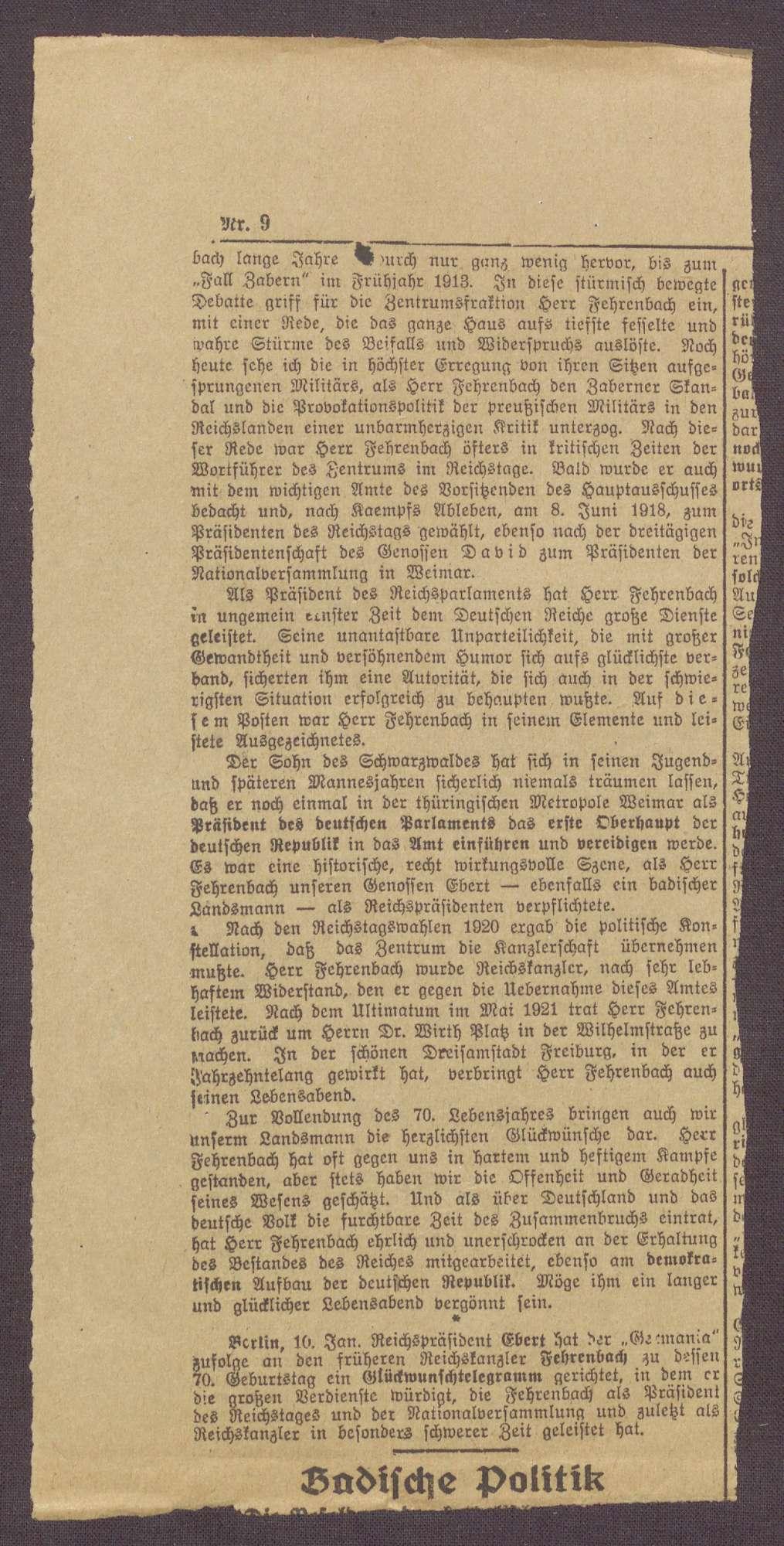 Zeitungsausschnitte über den 70. Geburtstag von Constantin Fehrenbach, Bild 1