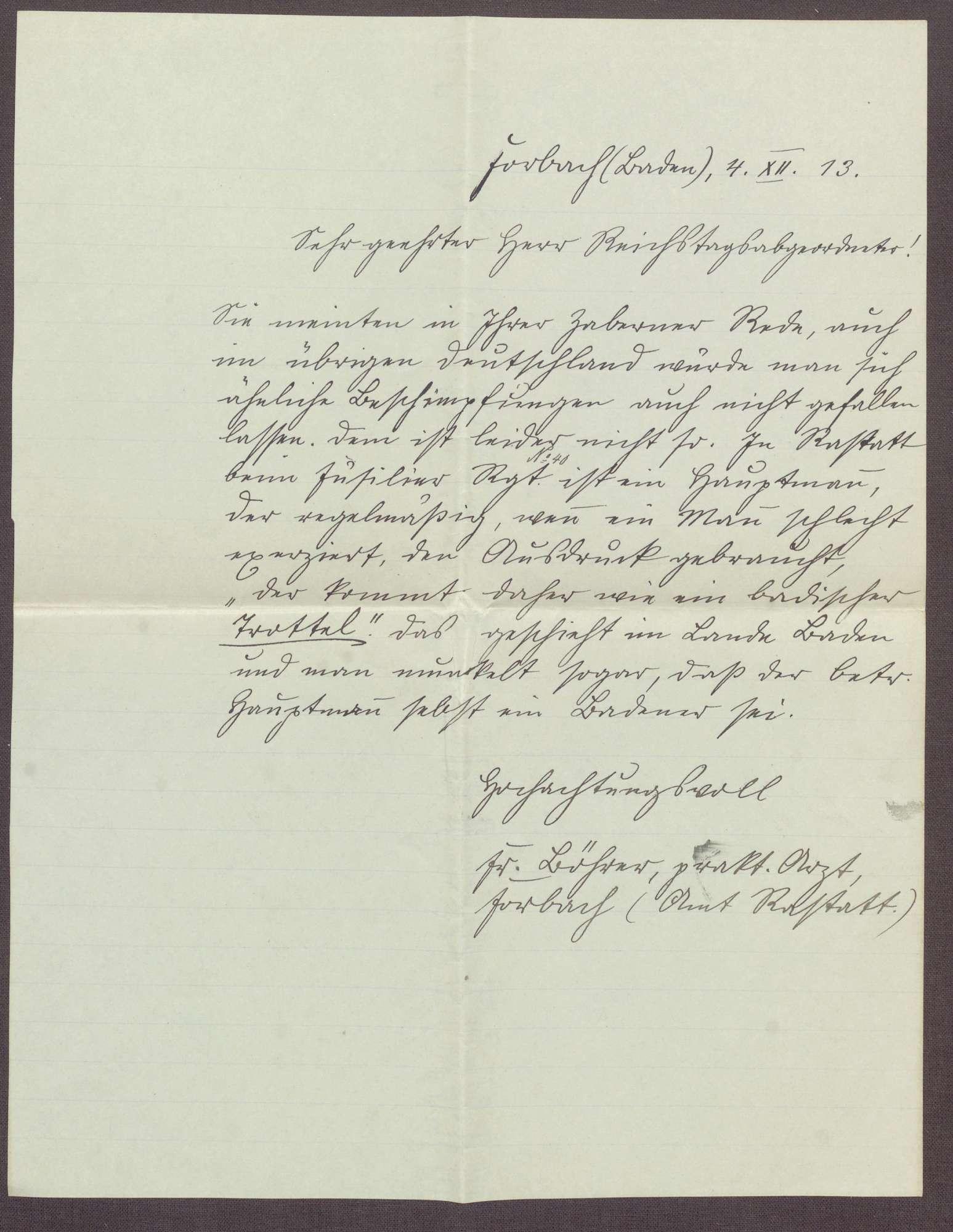 Schreiben von Löhrer, Arzt in Forbach, an Constantin Fehrenbach, Lob der Zabern-Rede, Bild 1