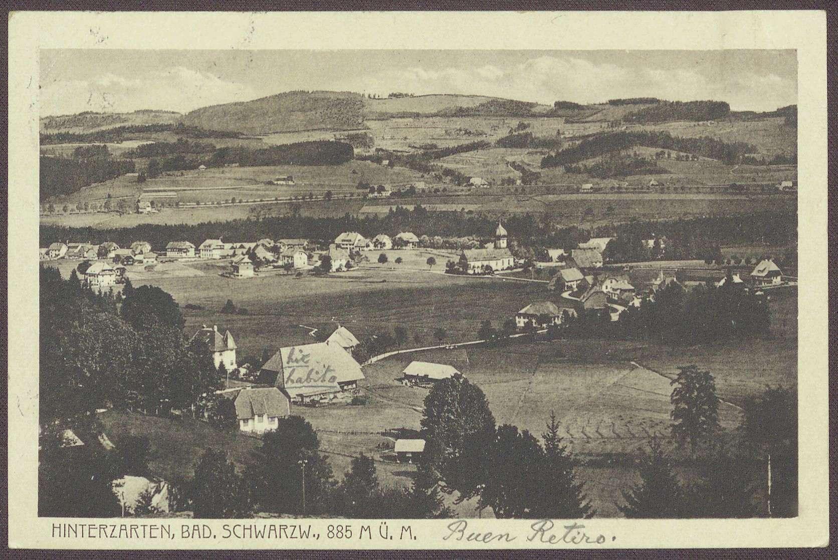 Postkarte, Motiv aus Hinterzarten, von J. Neff an Constantin Fehrenbach, Glückwünsche zur Wahl zum Reichskanzler, Bild 1