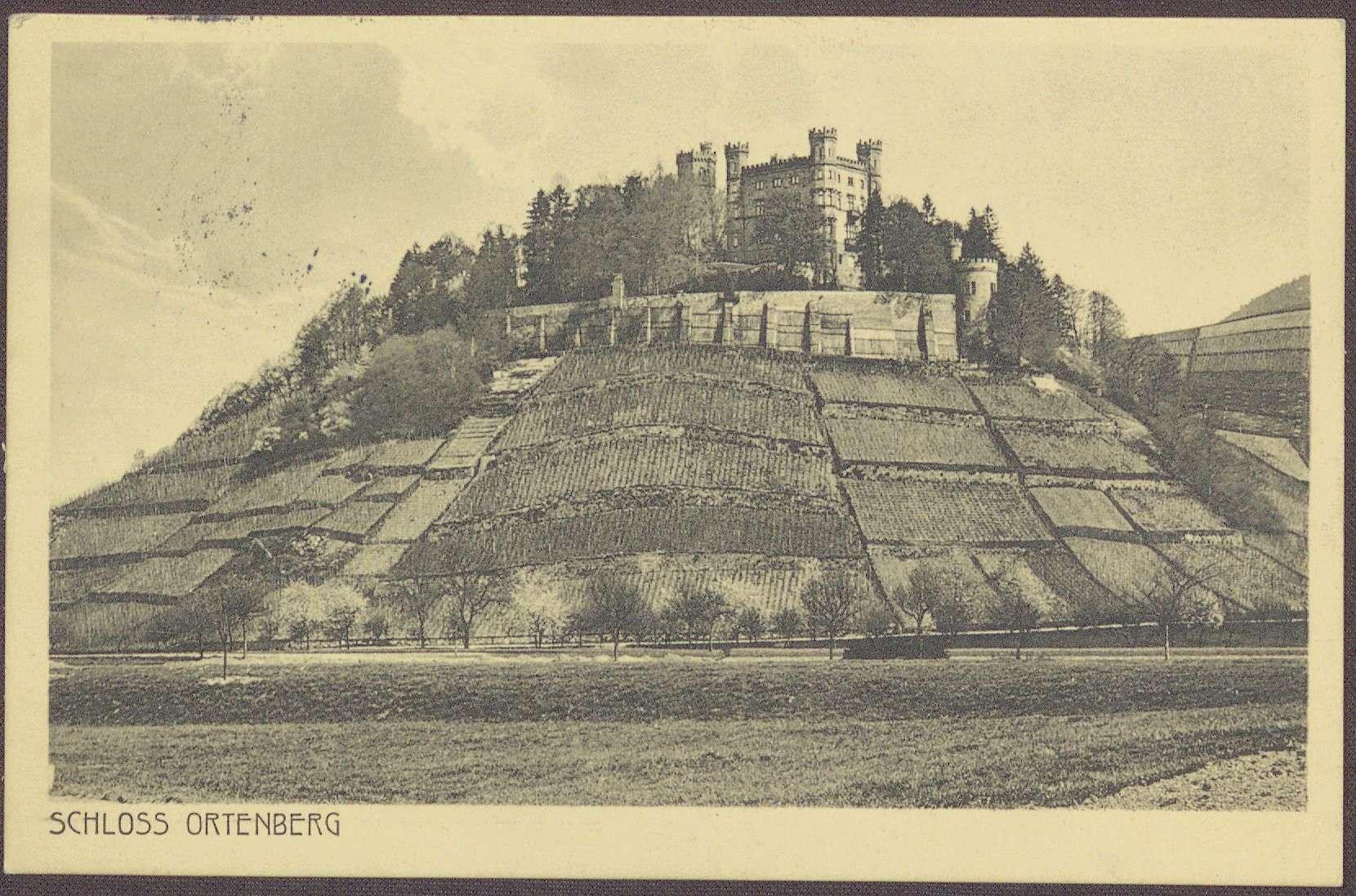 Postkarte, Motiv vom Schloss Ortenberg, an Constantin Fehrenbach, Gratulation zur Zabern-Rede, Bild 1