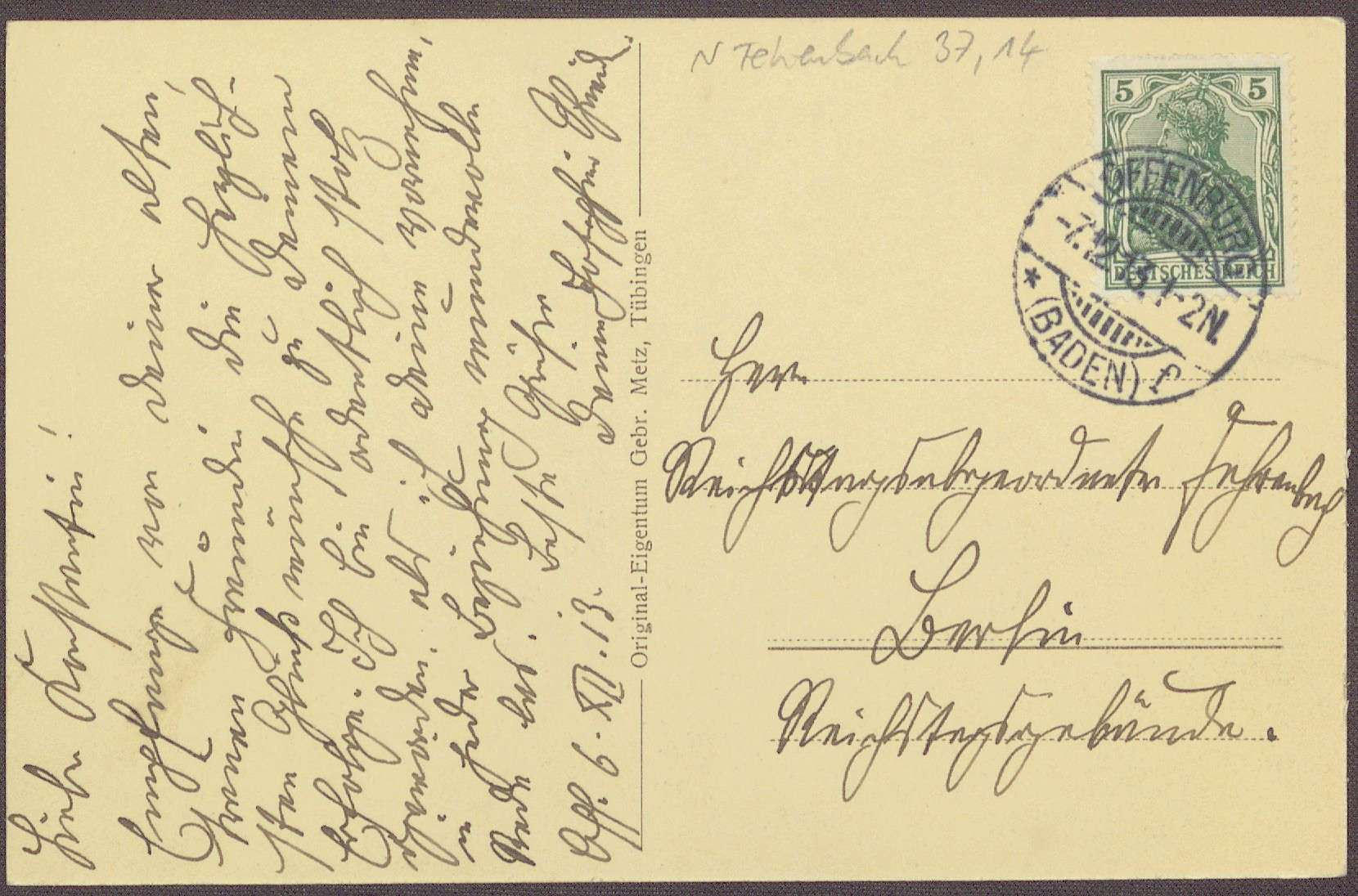 Postkarte, Motiv vom Schloss Ortenberg, an Constantin Fehrenbach, Gratulation zur Zabern-Rede, Bild 2