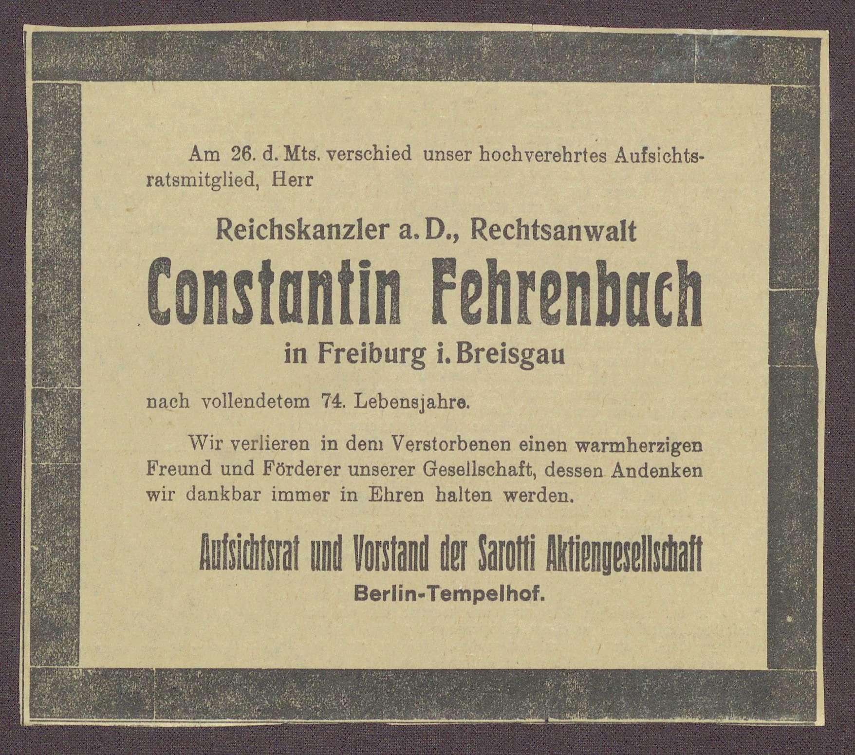Beileidskundgebungen zum Tod von Constantin Fehrenbach, Bild 1
