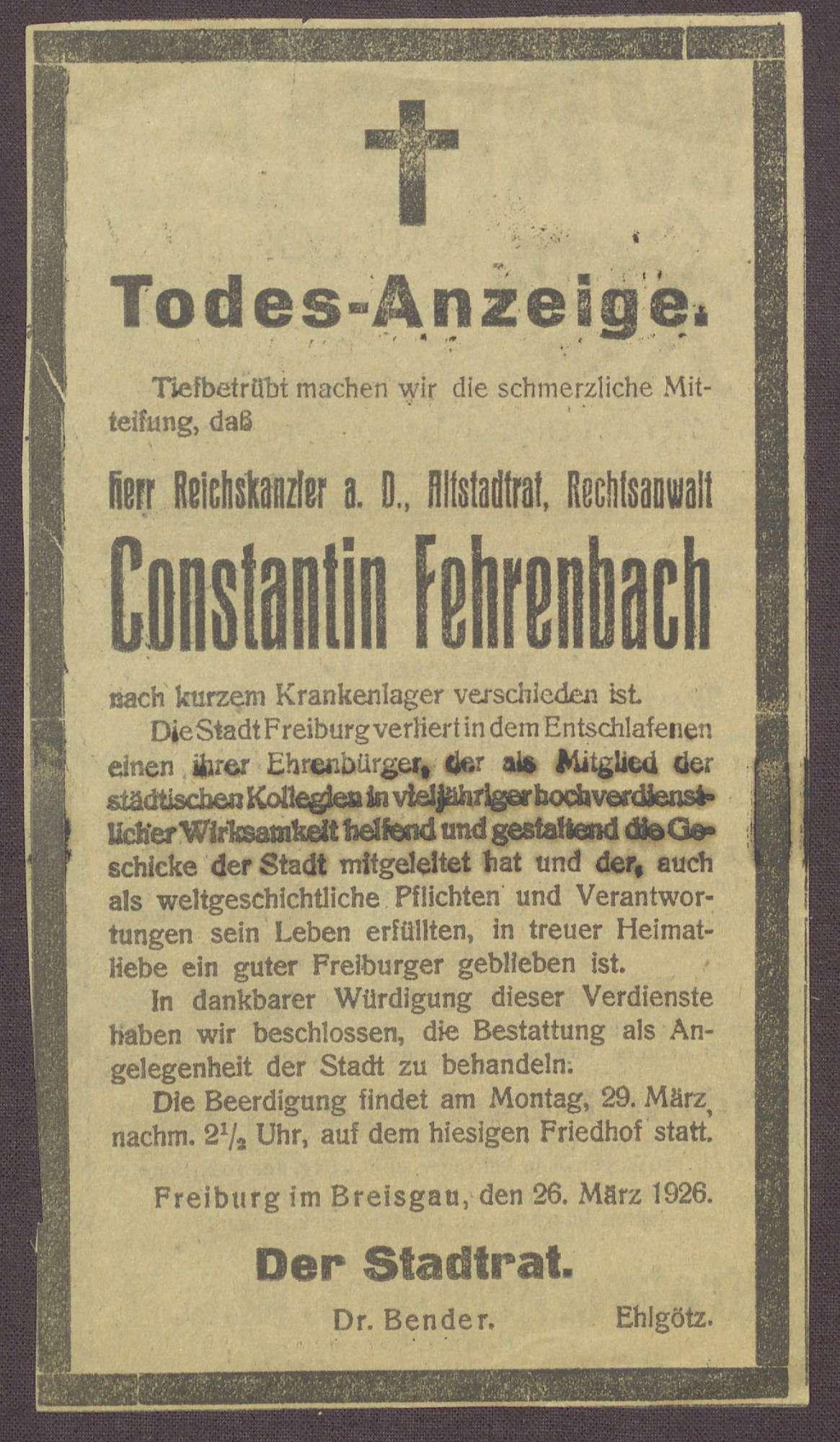 Beileidskundgebungen zum Tod von Constantin Fehrenbach, Bild 2