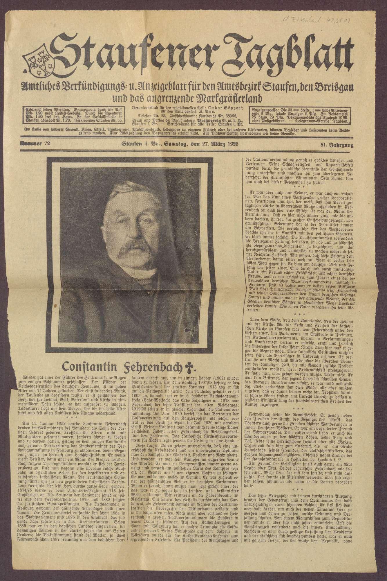 Nachrufe aus badischen Zeitungen auf Constantin Fehrenbach, Bild 1