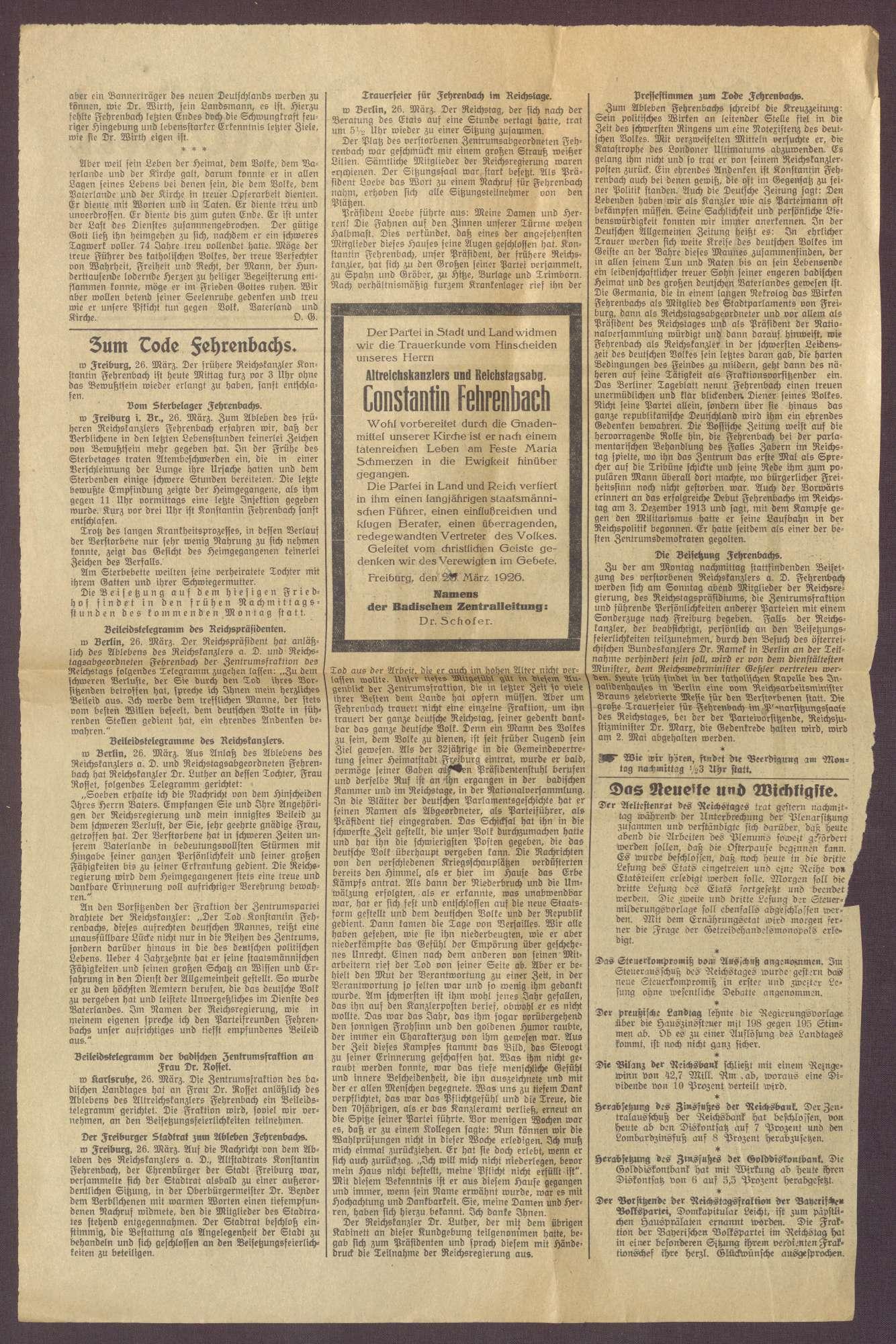 Nachrufe aus badischen Zeitungen auf Constantin Fehrenbach, Bild 2