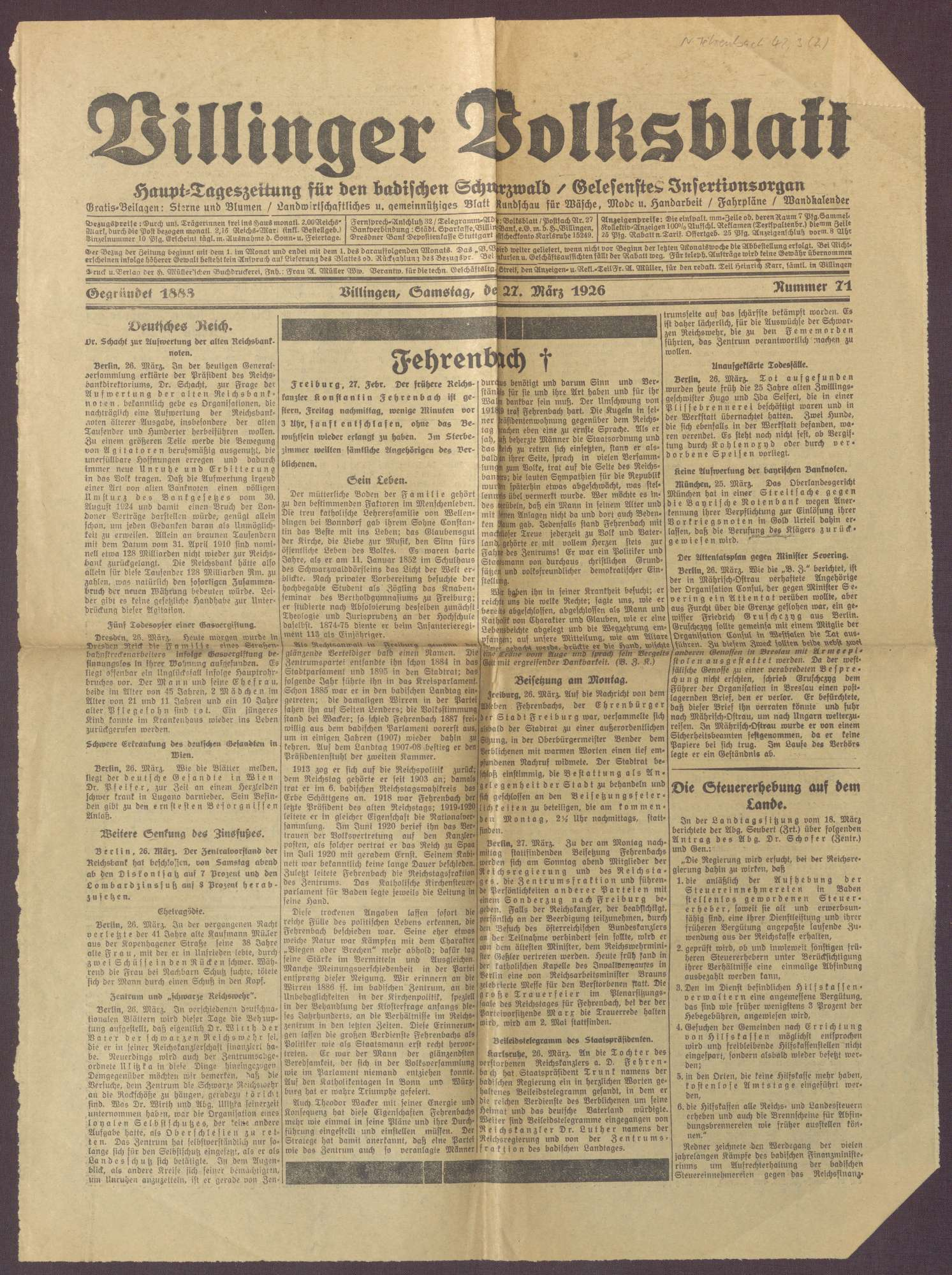 Nachrufe aus badischen Zeitungen auf Constantin Fehrenbach, Bild 3