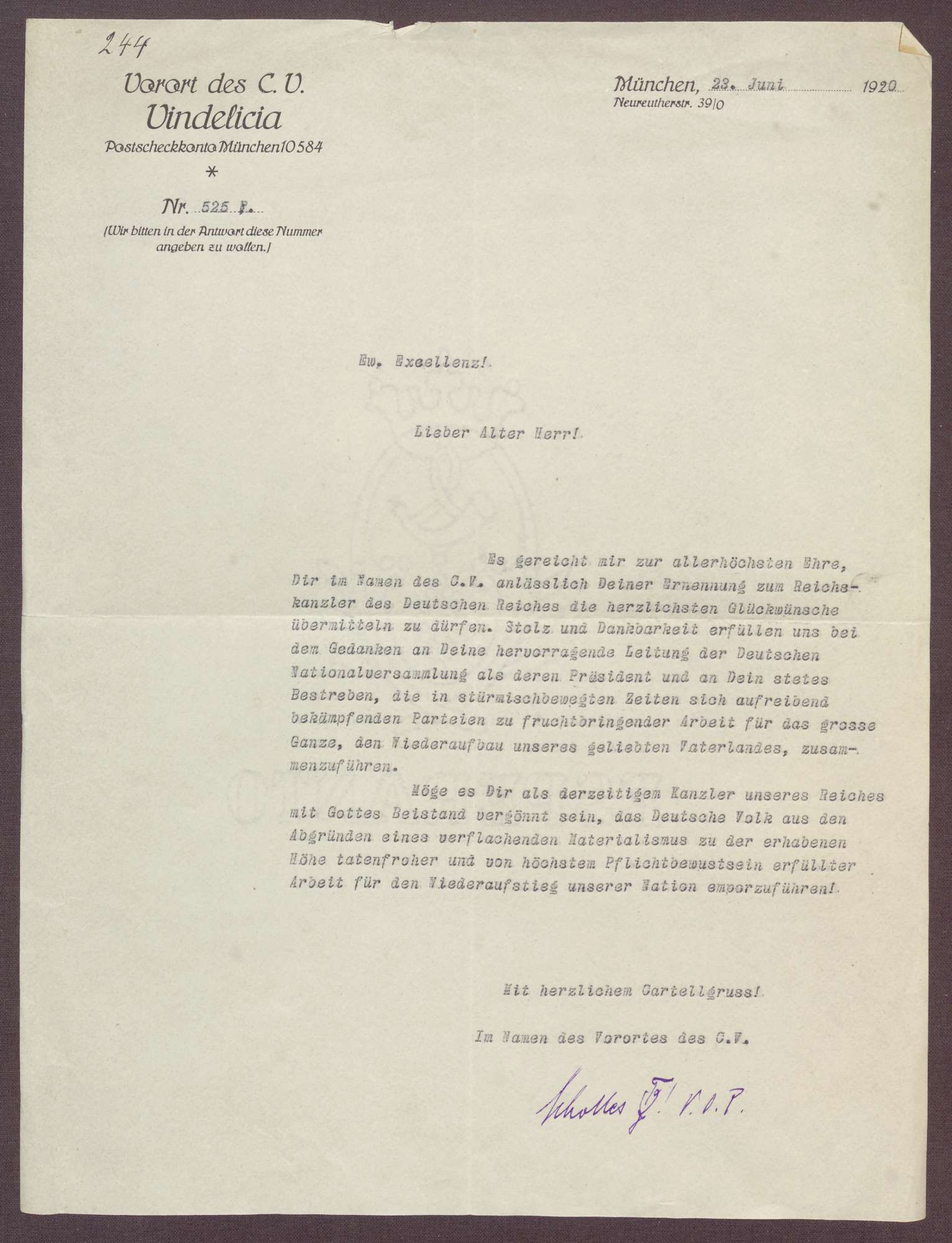 Schreiben an Constantin Fehrenbach, Glückwünsche zur Wahl zum Reichskanzler, Bild 1