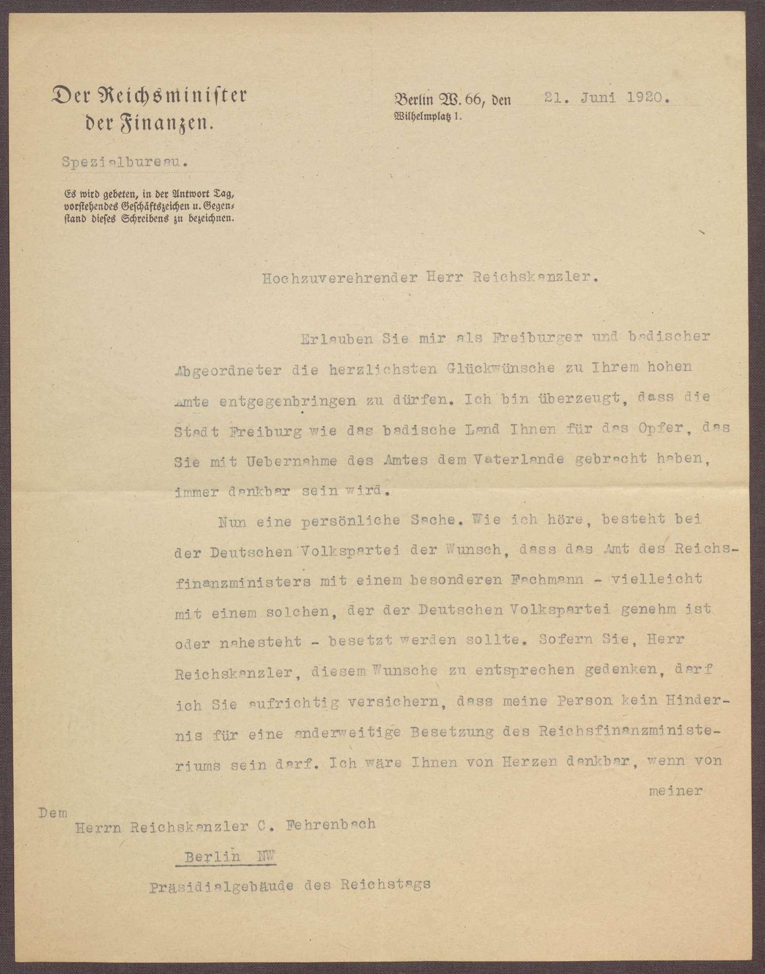 Schreiben von Joseph Wirth an Constantin Fehrenbach, Glückwünsche zur Wahl zum Reichskanzler und Angebot des Verzichtes auf das Amt des Reichsfinanzministers, Bild 1