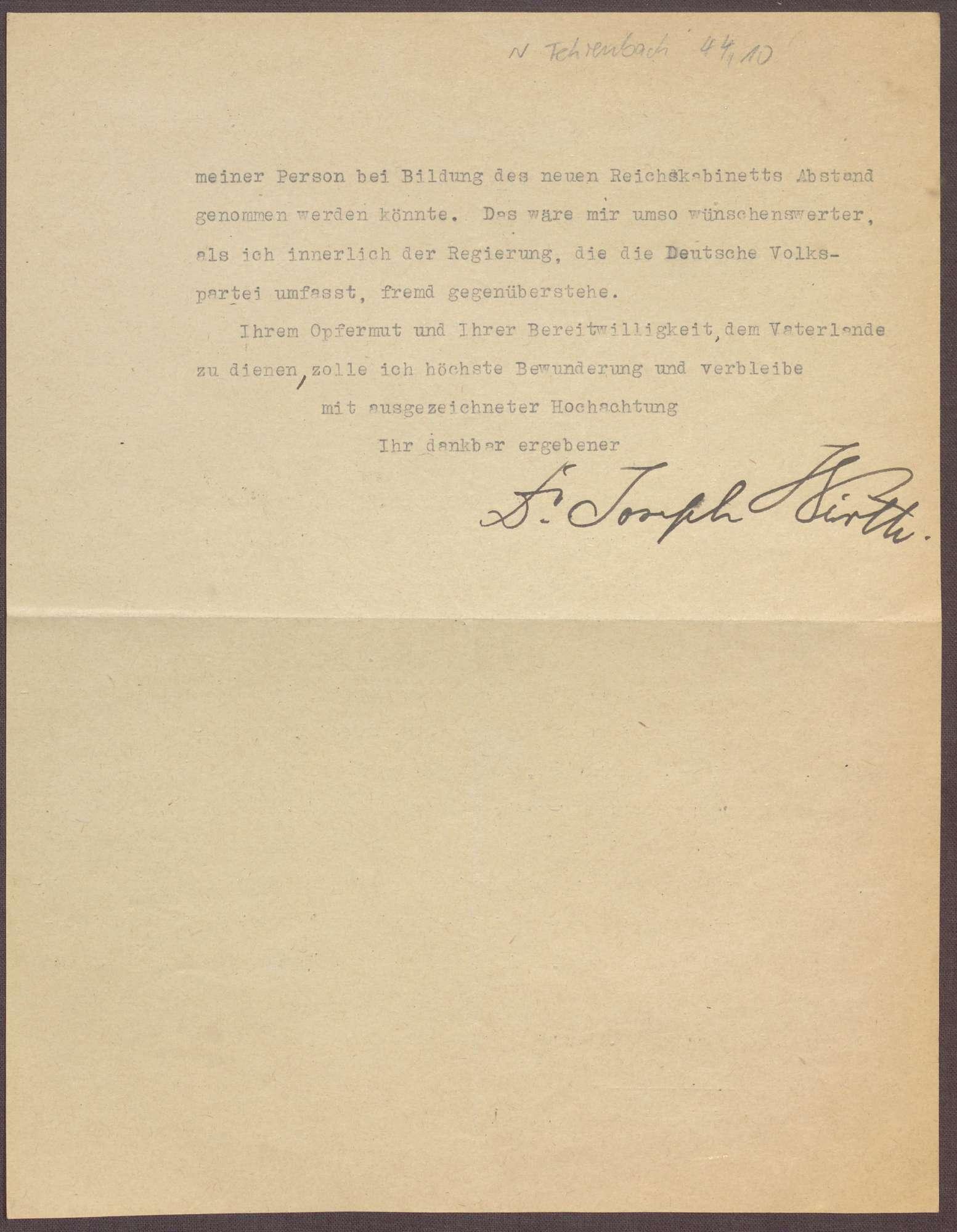 Schreiben von Joseph Wirth an Constantin Fehrenbach, Glückwünsche zur Wahl zum Reichskanzler und Angebot des Verzichtes auf das Amt des Reichsfinanzministers, Bild 2