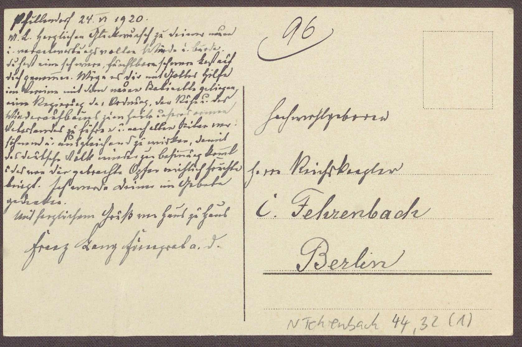 Postkarte, Motiv aus Pfullendorf, von Franz Lang, an Constantin Fehrenbach, Glückwünsche zur Wahl zum Reichskanzler, Bild 2