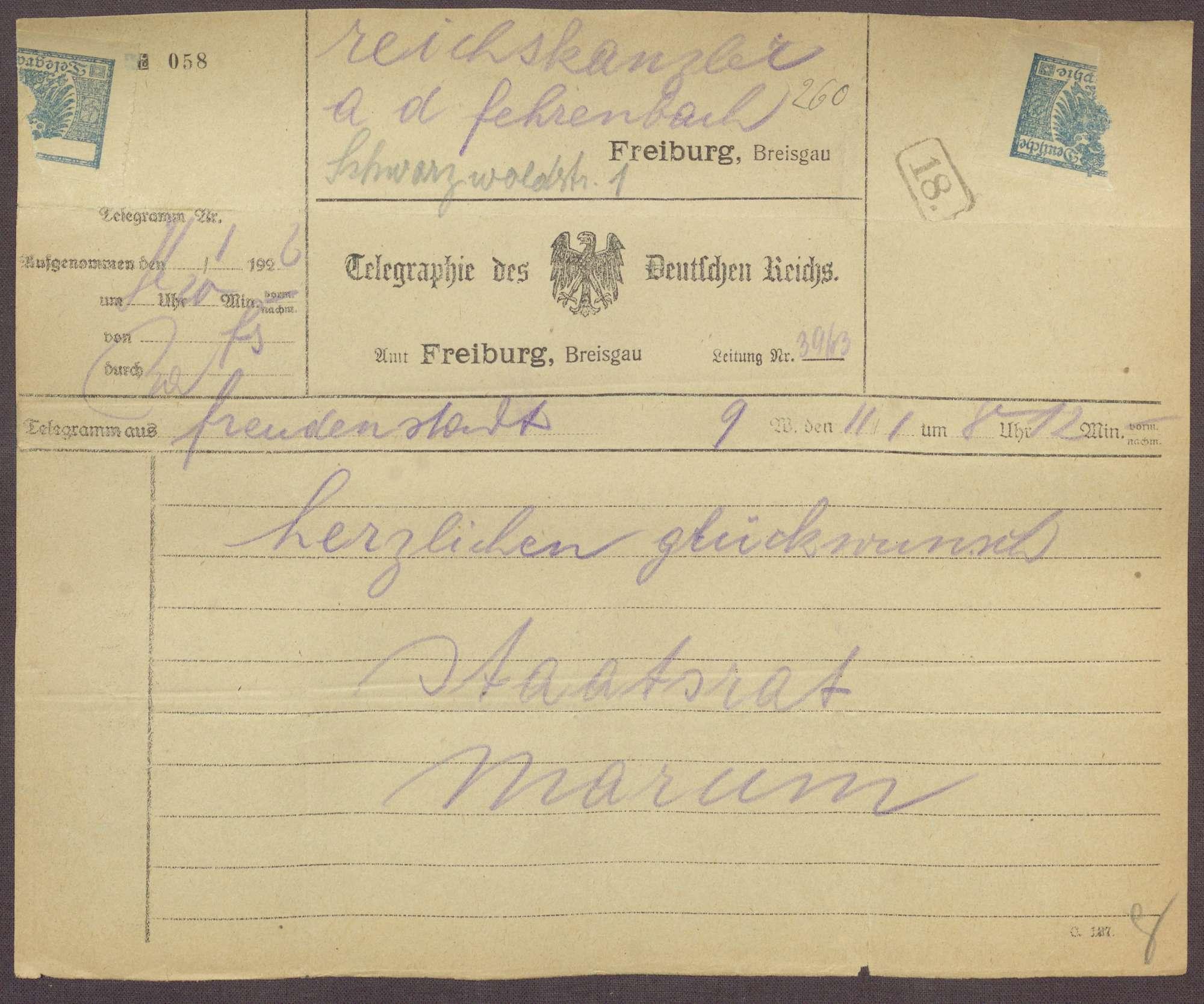 Glückwunschtelegramm zum 70. Geburtstag für Constantin Fehrenbach von Luwig Marum, Freudenstadt, Bild 1