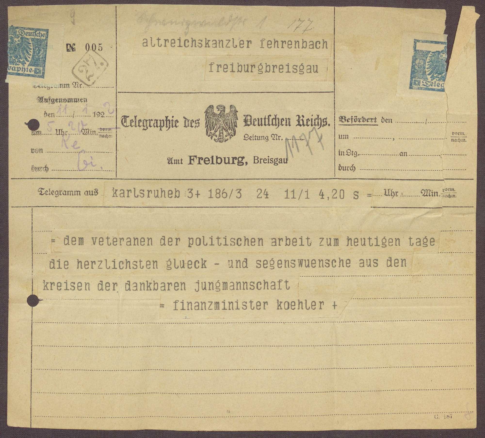 Glückwunschtelegramm zum 70. Geburtstag für Constantin Fehrenbach von Heinrich Köhler, Karlsruhe, Bild 1