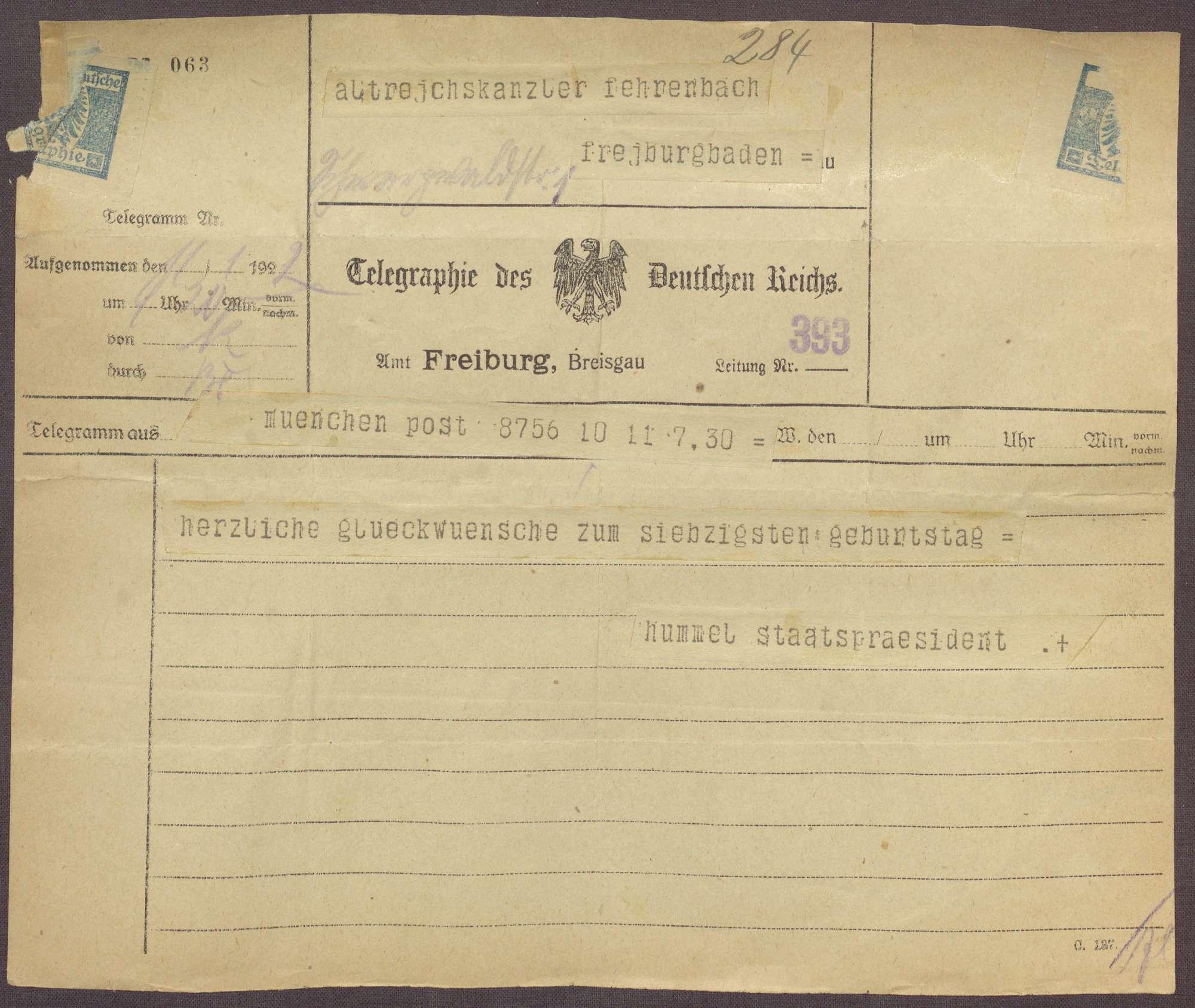 Glückwunschtelegramm zum 70. Geburtstag für Constantin Fehrenbach von Hermann Hummel, München, Bild 1