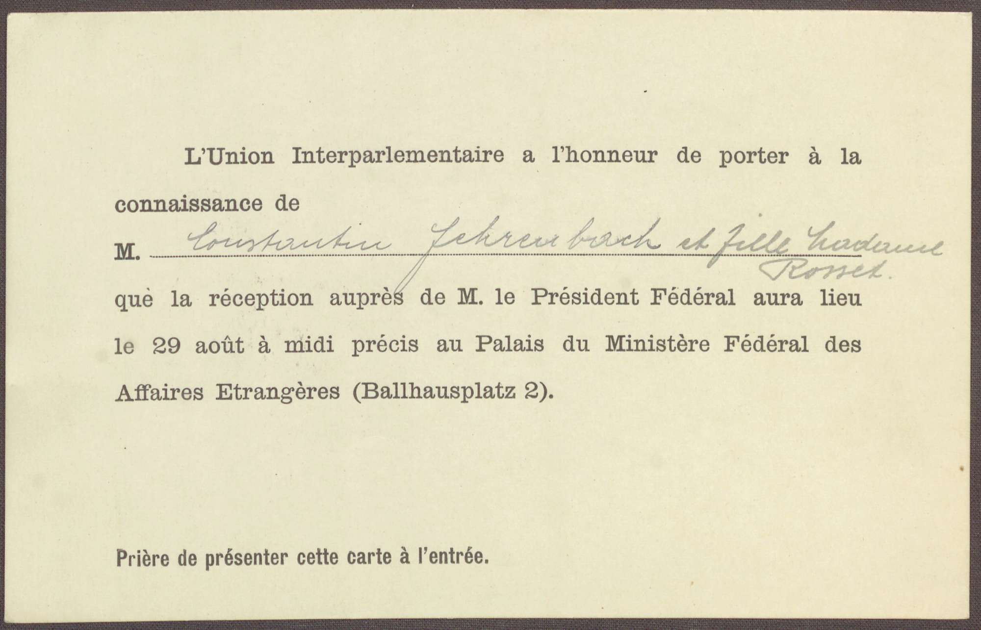 Einladung für Constantin Fehrenbach und Elisabeth Rosset zu einem Treffen im österreichischen Außenministerium, Bild 1