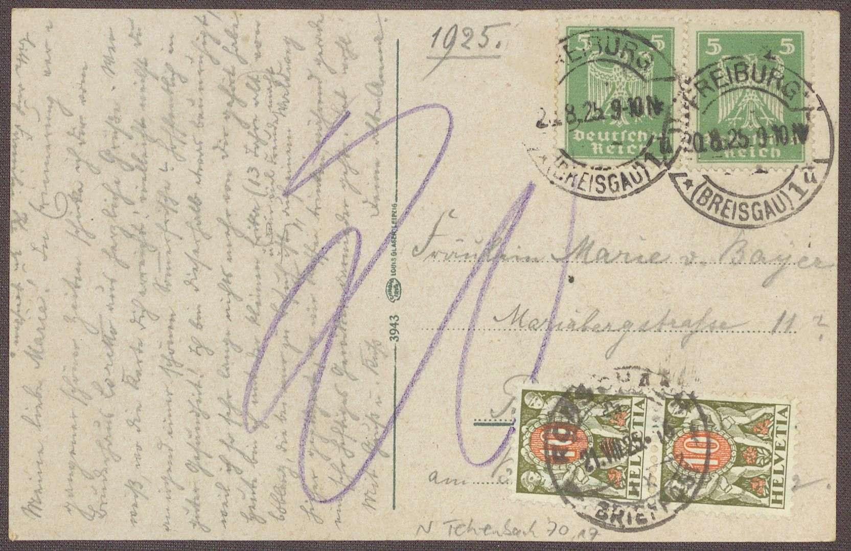 Postkarte an Marie von Bayer, Rorschach, Bild 1