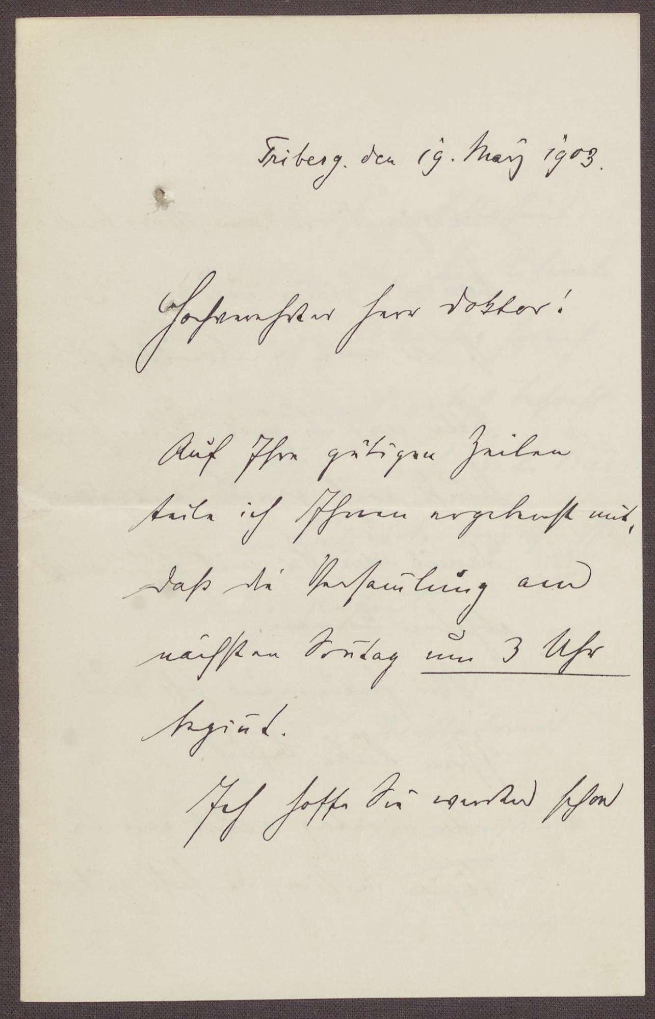 Schreiben vom Stadtpfarrer aus Triberg an Constantin Fehrenbach, Hinweis auf einer Versammlung und dort besprochene Themen, Bild 1
