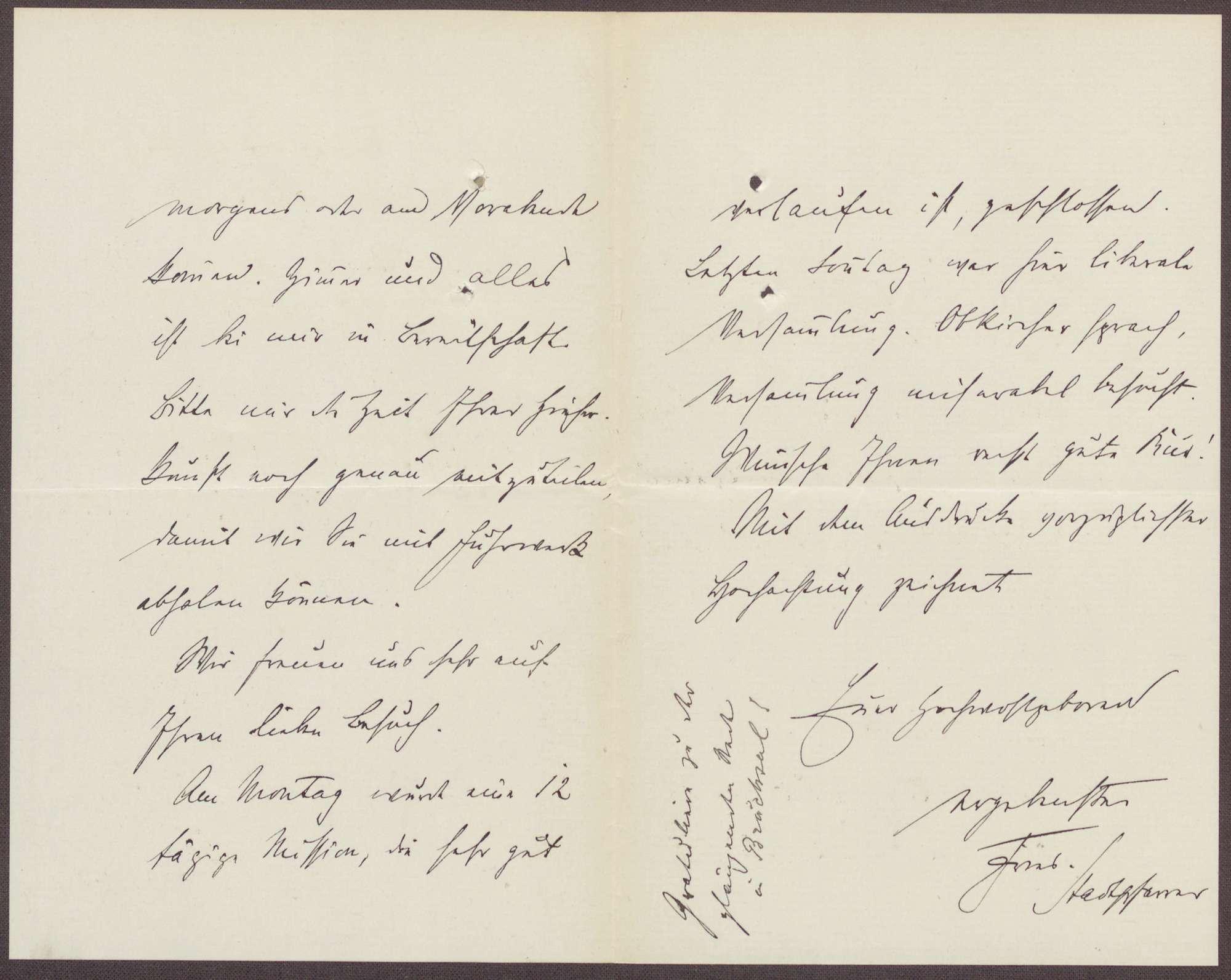 Schreiben vom Stadtpfarrer aus Triberg an Constantin Fehrenbach, Hinweis auf einer Versammlung und dort besprochene Themen, Bild 2