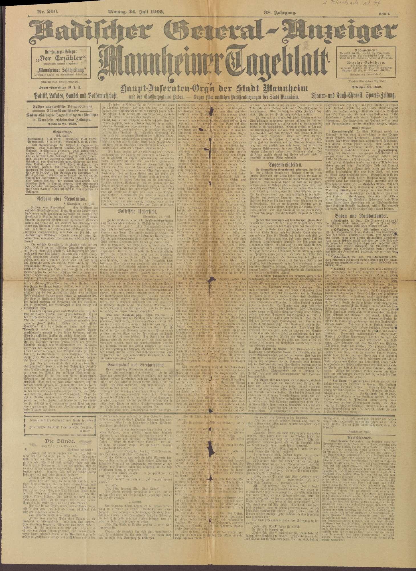 """Ausgabe von """"Badischer Generalanzeiger. Mannheimer Tageblatt"""", Bild 1"""