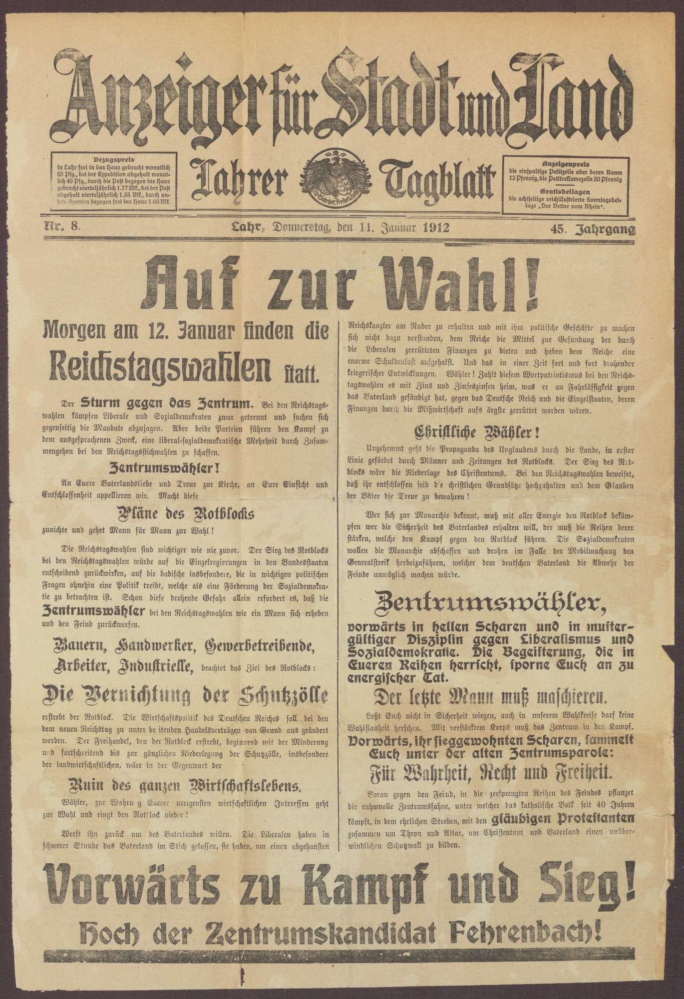 """Wahlaufruf an die Wähler der Zentrumspartei zur Wahl von Constantin Fehrenbach in """"Anzeiger für Stadt und Land. Lahrer Tagblatt"""", Bild 1"""