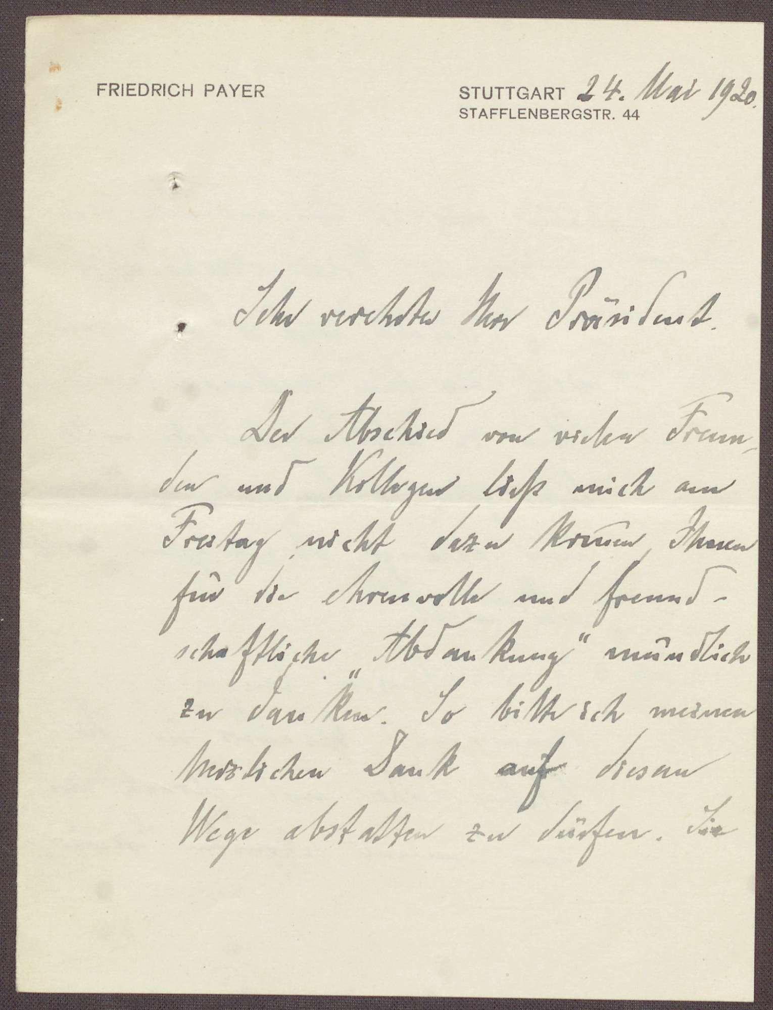 Schreiben von Friedrich Payer an Constantin Fehrenbach, Abschied aus dem parlamentarischen Leben und Dank für die Abschiedsrede, Bild 1