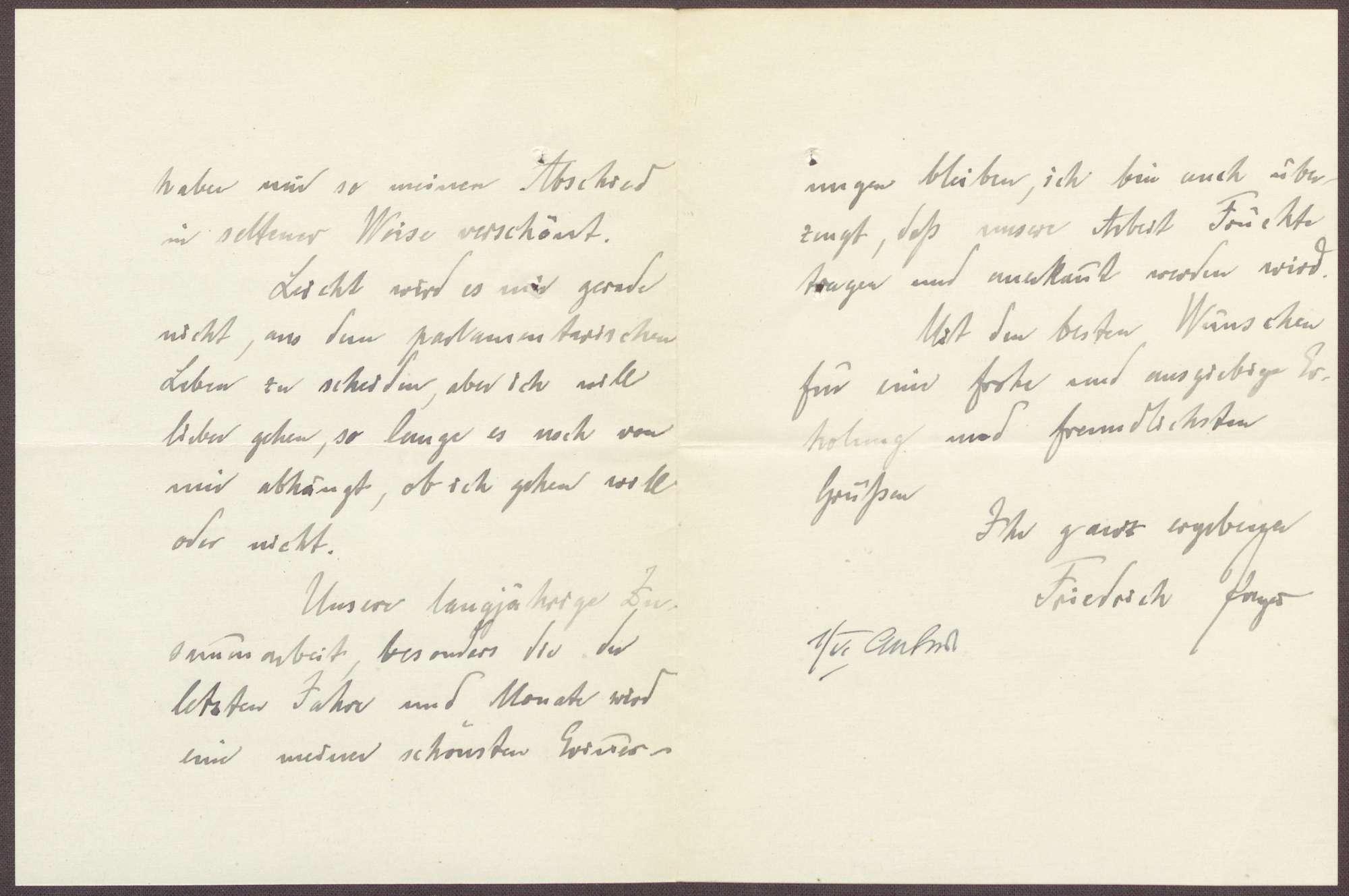 Schreiben von Friedrich Payer an Constantin Fehrenbach, Abschied aus dem parlamentarischen Leben und Dank für die Abschiedsrede, Bild 2