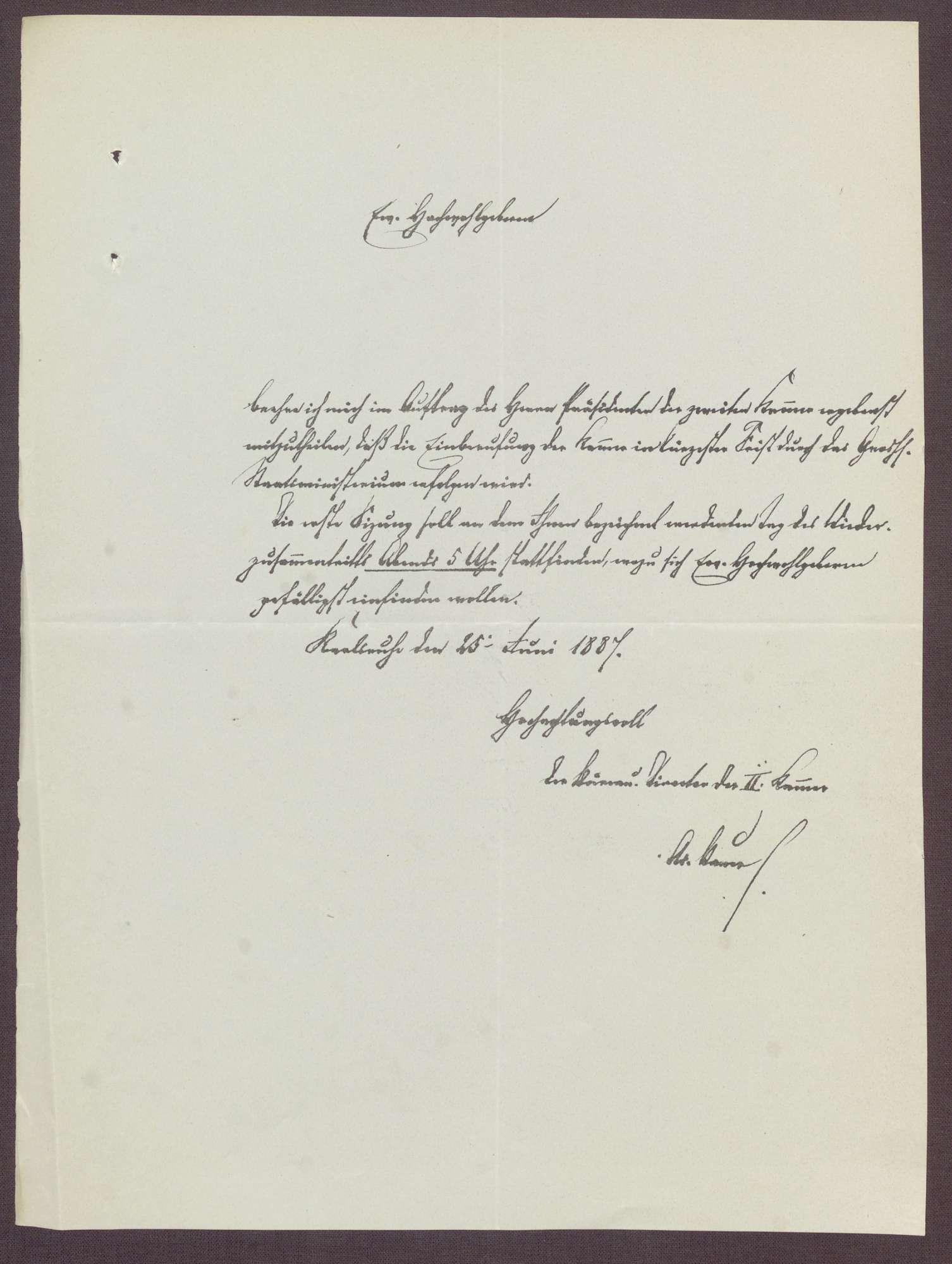 Schreiben an die Abgeordneten der 2. Kammer des Landtags, Einberufung des Landtages, Bild 1
