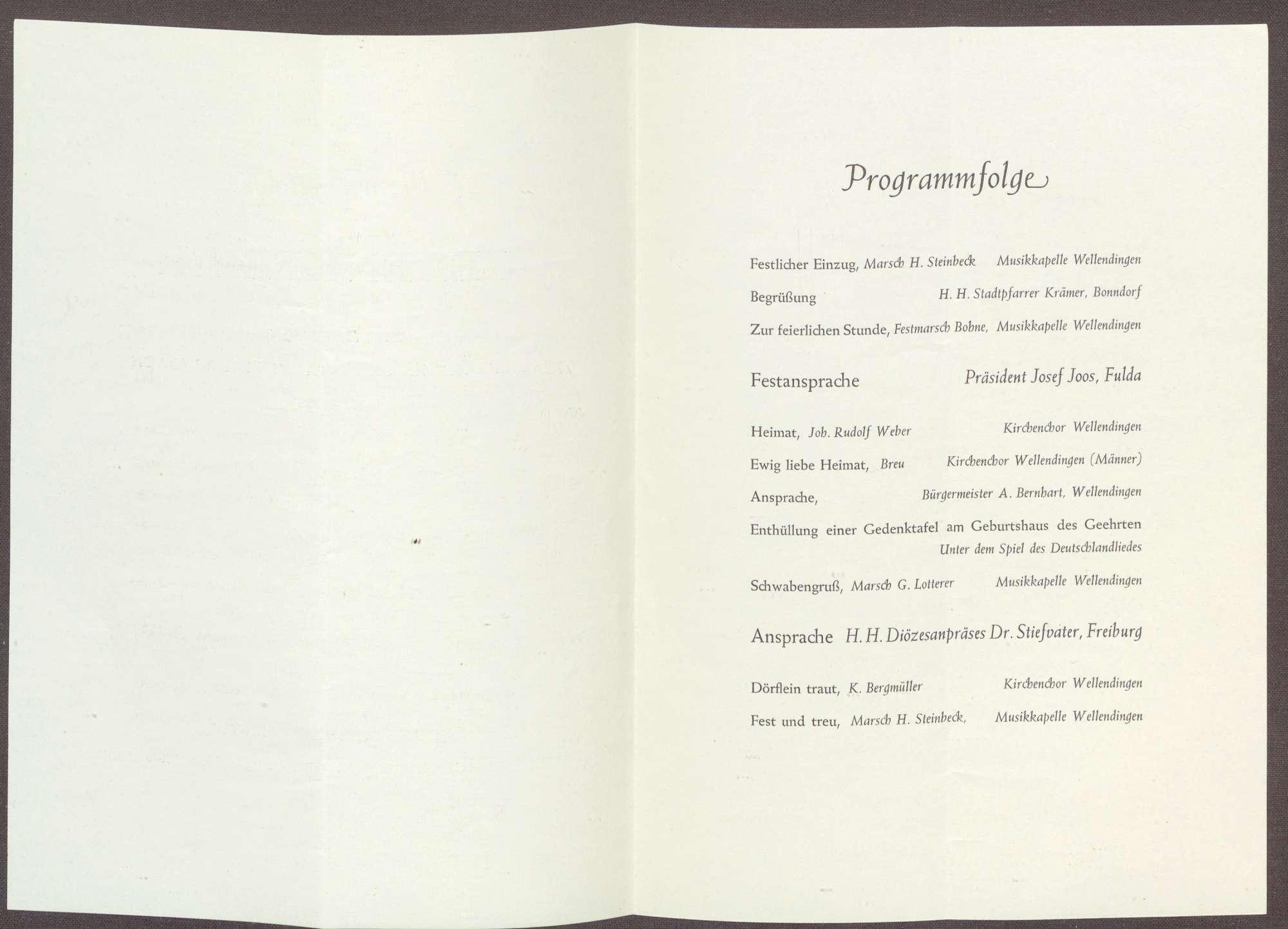 Programm zur Gedenkfeier für Constantin Fehrenbach von dessen Heimatgemeinde Wellendingen bei Bonndorf, Bild 2
