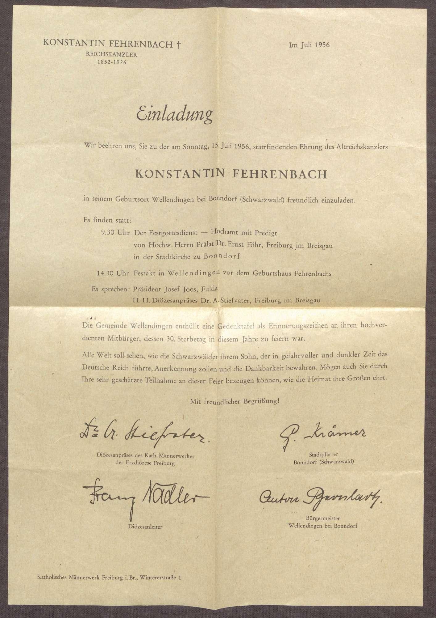 Programm zur Gedenkfeier für Constantin Fehrenbach von dessen Heimatgemeinde Wellendingen bei Bonndorf, Bild 3