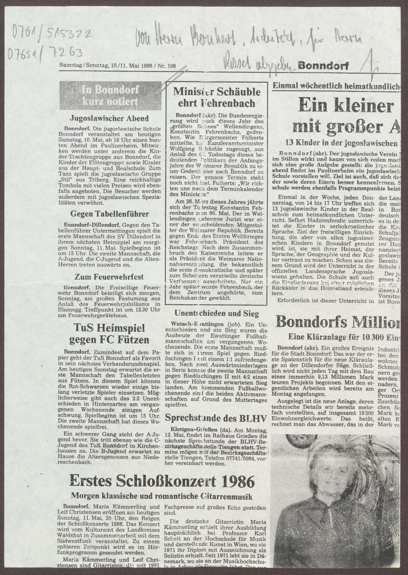 """Zeitungsausschnitt: """"Minister Schäuble ehrt Fehrenbach"""" über den 60. Todestag von Constantin Fehrenbach in Bonndorf, Bild 1"""