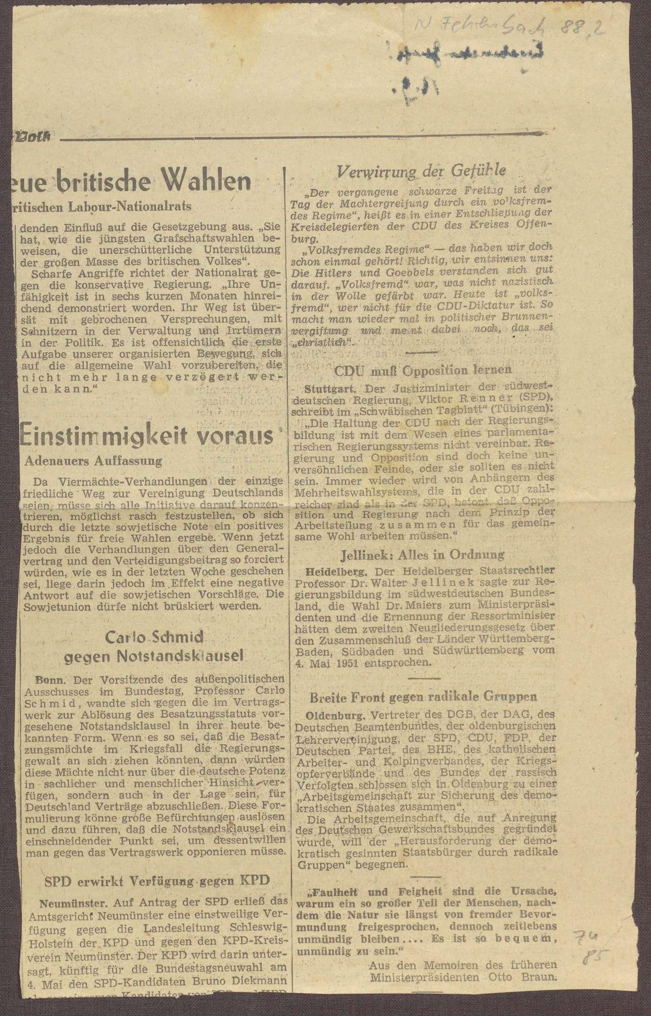 Ausschnitt aus unbekannter Zeitung, Bild 2