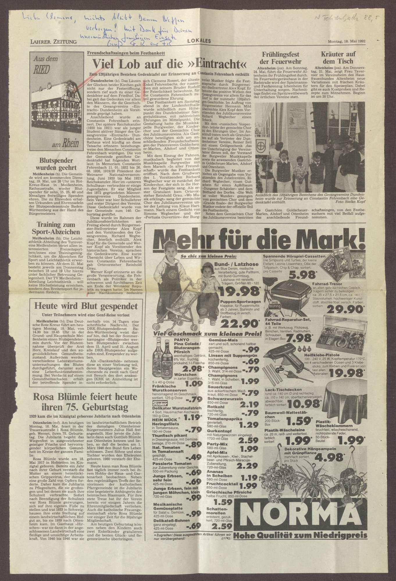 """Ausschnitt aus """"Lahrer Zeitung"""", Bild 1"""