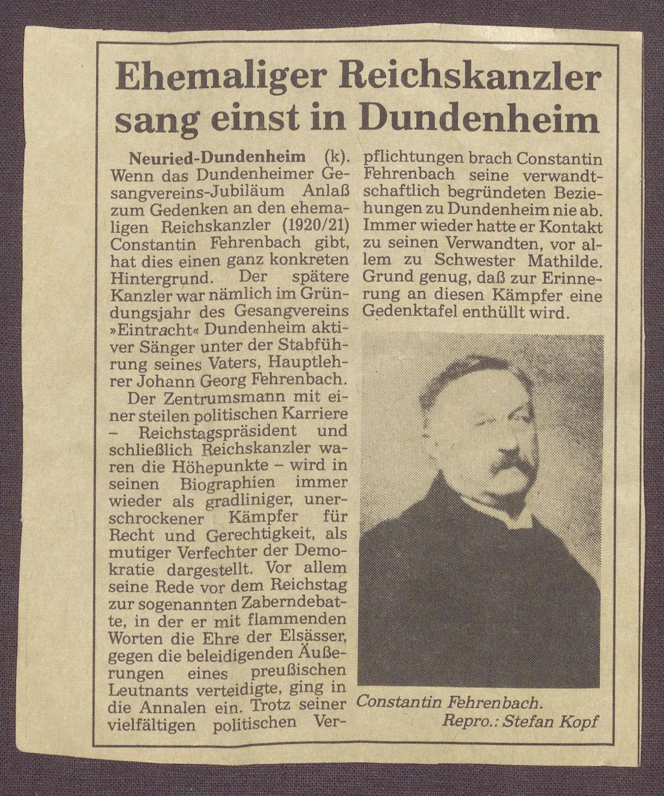 Ausschnitt aus einer unbekannten Zeitung, Bild 1