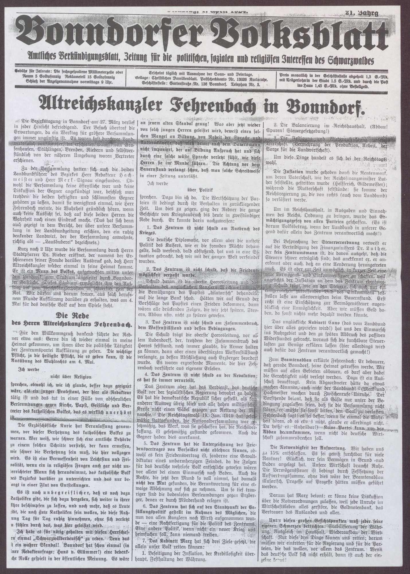 """Kopie von Artikeln aus """"Schwarzwälder Zeitung"""" und """"Bonndorfer Volksblatt"""" über einen Besuch von Constantin Fehrenbach in Bonndorf und die dort gehaltene Rede, Bild 1"""