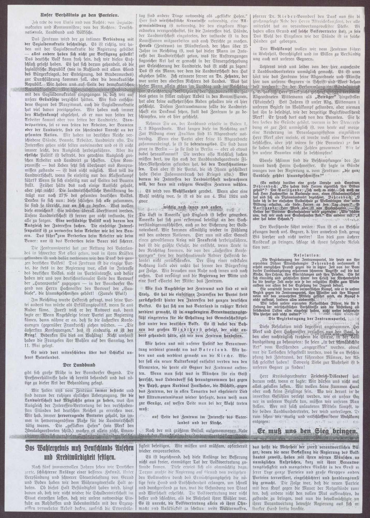 """Kopie von Artikeln aus """"Schwarzwälder Zeitung"""" und """"Bonndorfer Volksblatt"""" über einen Besuch von Constantin Fehrenbach in Bonndorf und die dort gehaltene Rede, Bild 2"""
