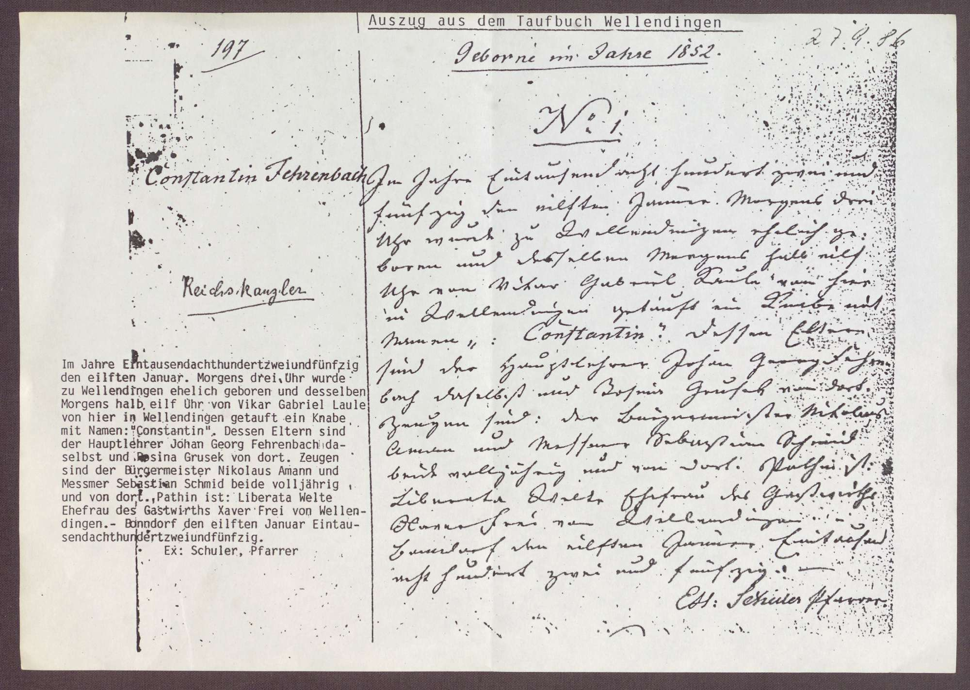 """Kopie aus dem Taufbuch Wellendingen; Eintrag """"Constantin Fehrenbach"""" mit einer Transkription, Bild 1"""