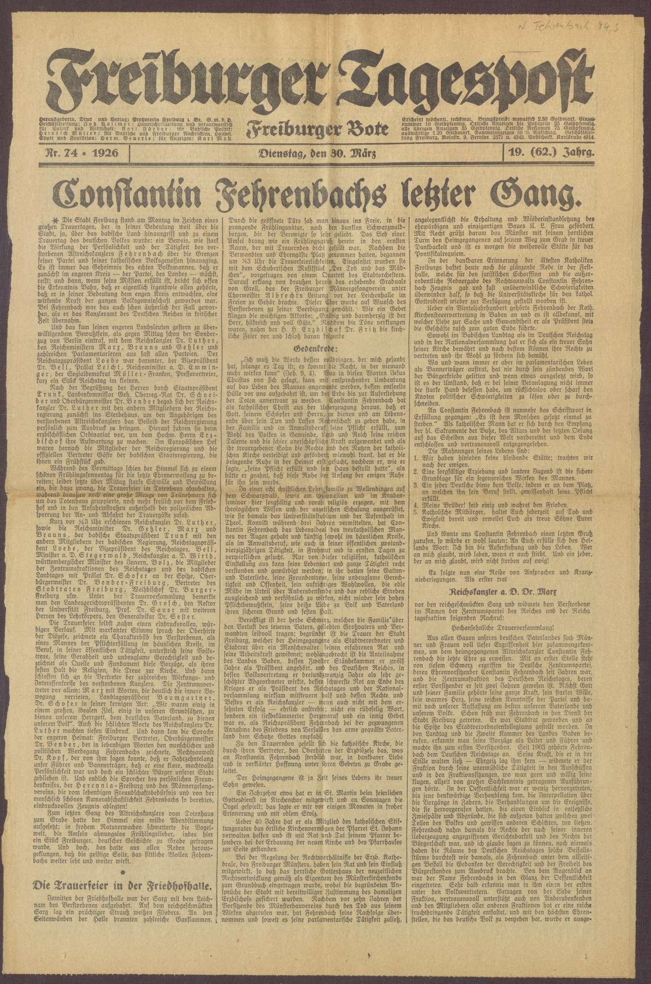 """Ausgabe von """"Freiburger Tagespost"""", Bild 1"""