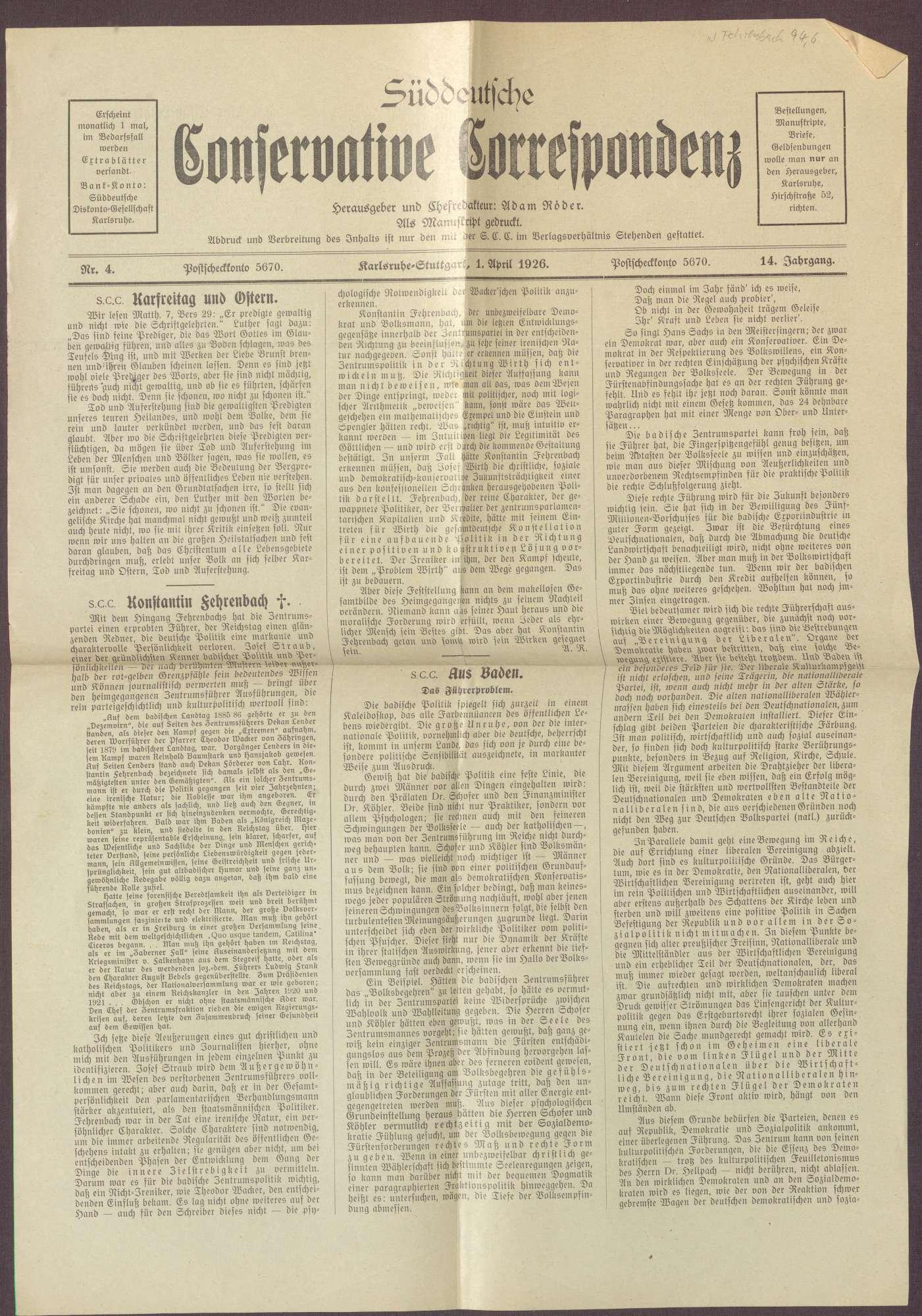 """Ausgabe von """"Süddeutsche Conservative Correspondenz"""", Bild 1"""