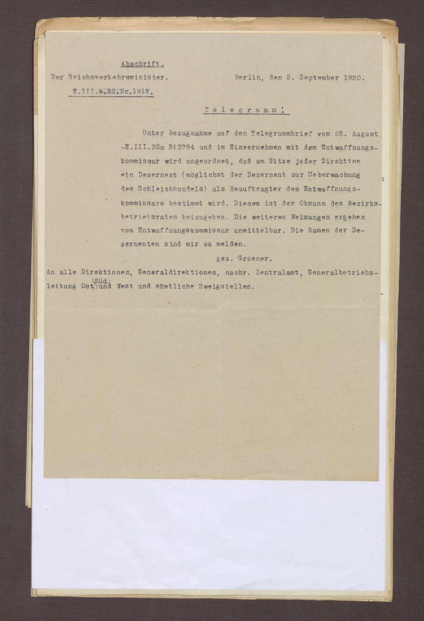Telegramm von Wilhelm Groener, Umsetzung der Kontrolle der Entwaffnung, Bild 1