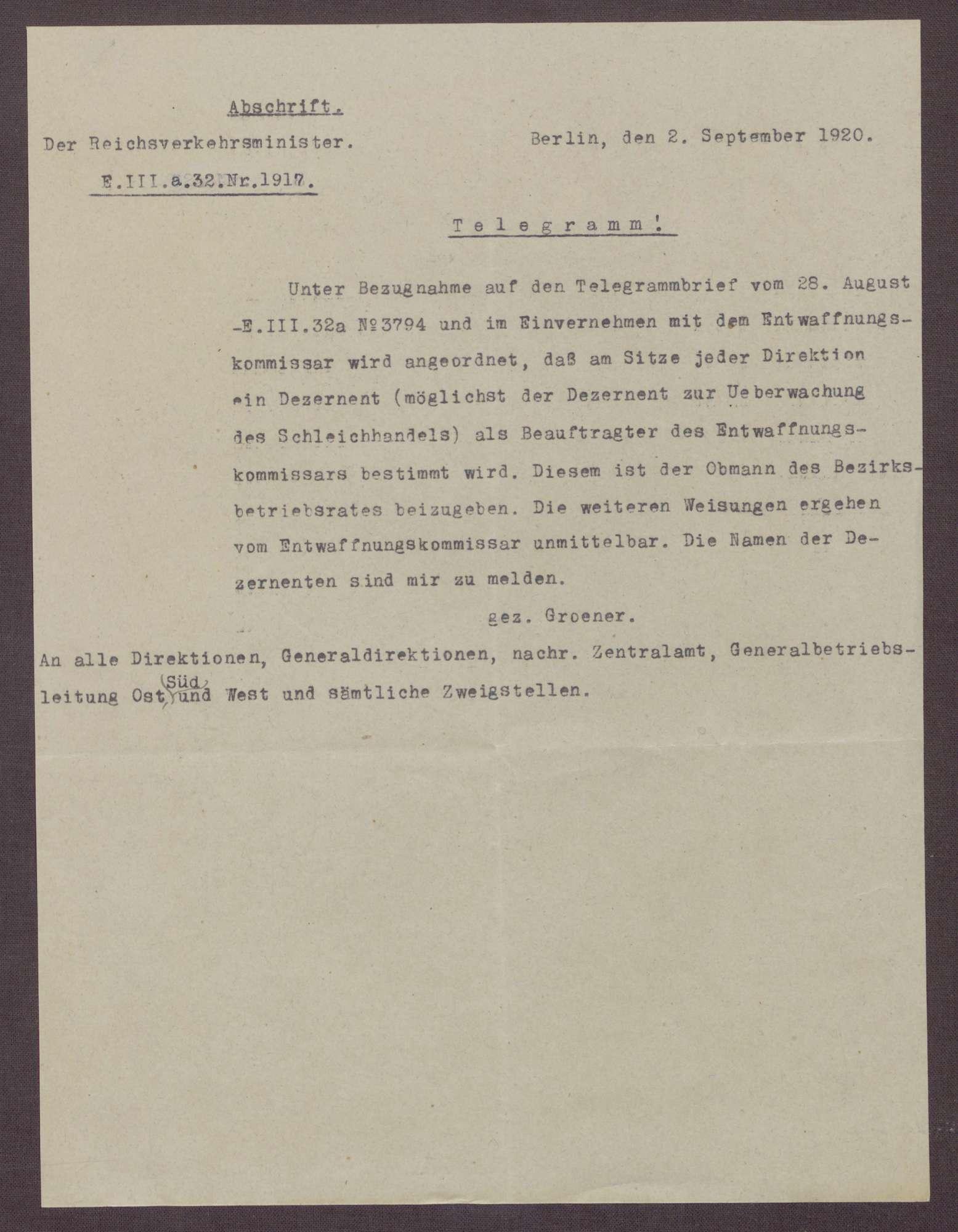 Telegramm von Wilhelm Groener, Umsetzung der Kontrolle der Entwaffnung, Bild 2