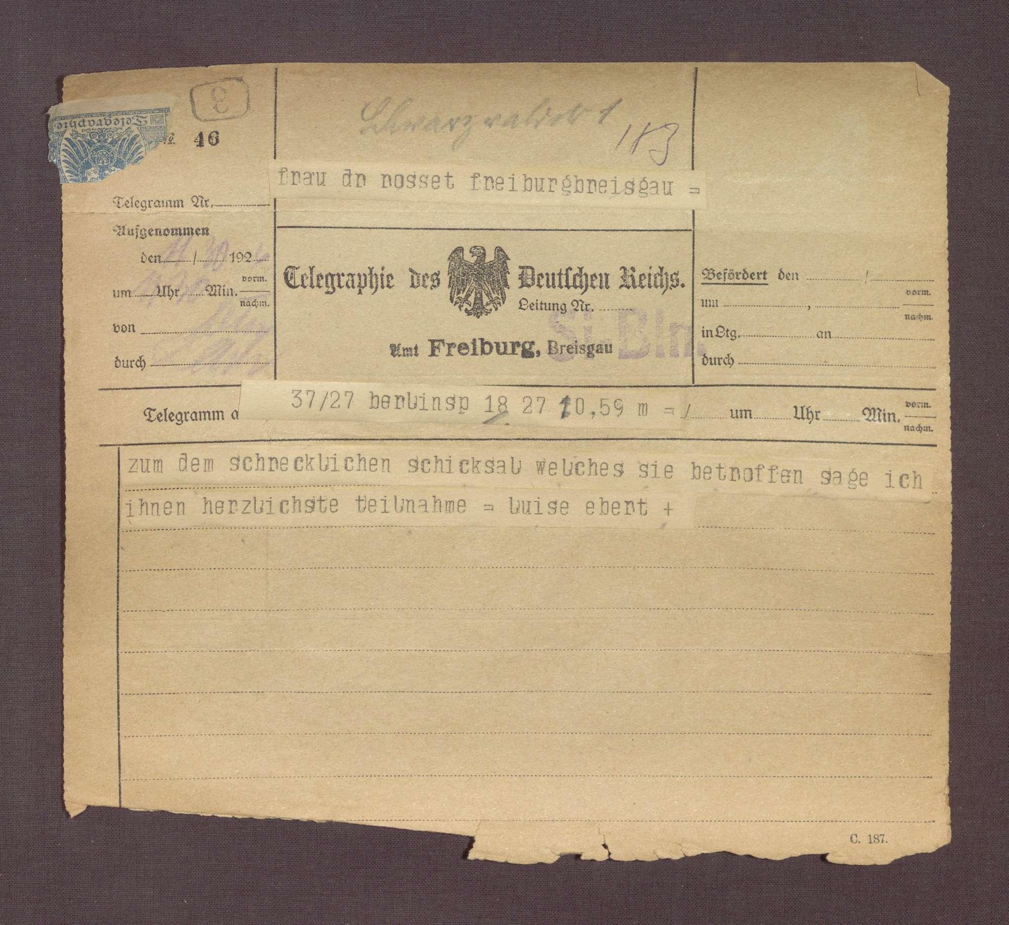 Beileidstelegramm von Louise Ebert zum Tod von Constantin Fehrenbach, Bild 1