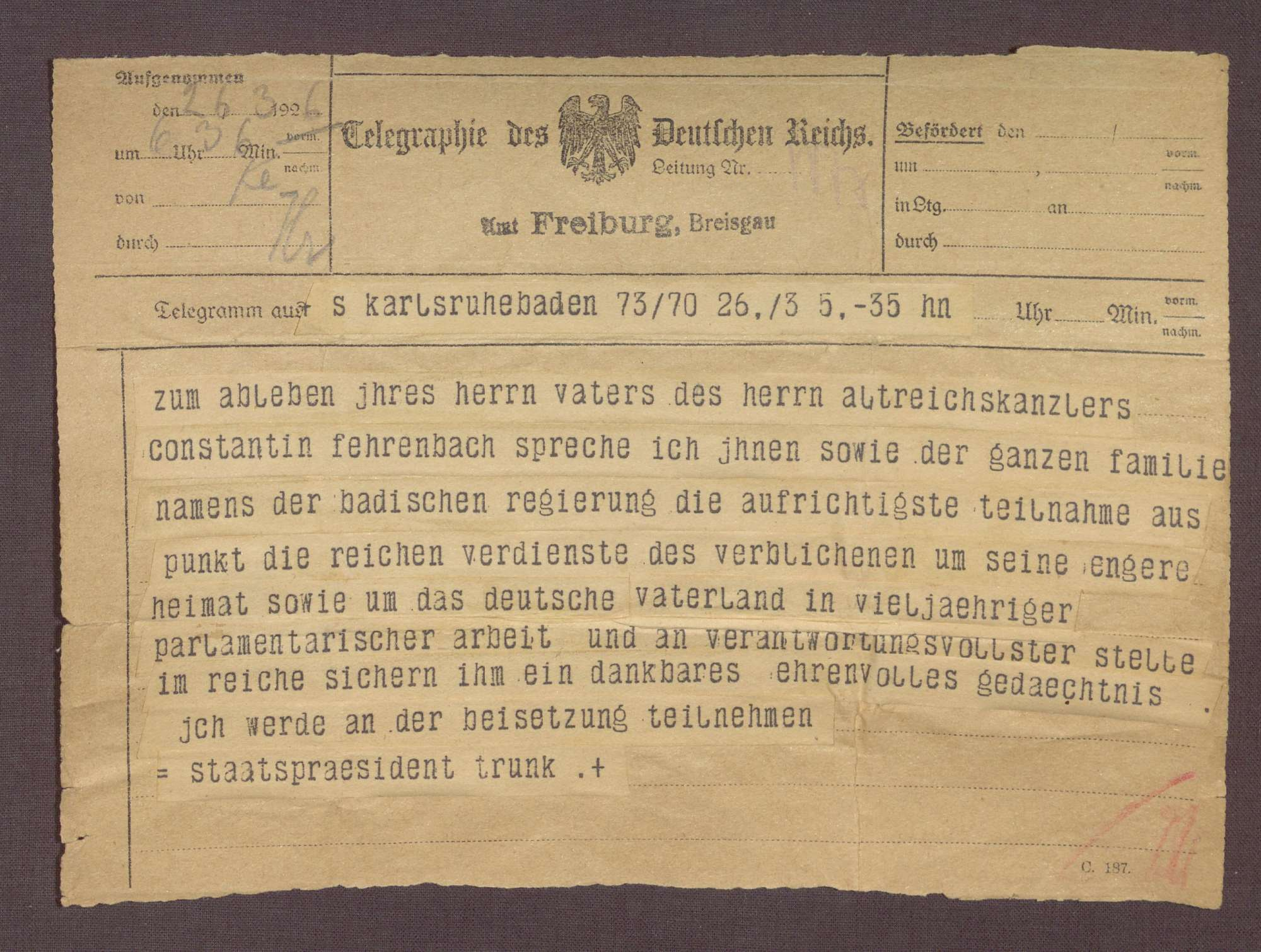 Beileidstelegramm von Gustav Trunk zum Tod von Constantin Fehrenbach, Bild 1