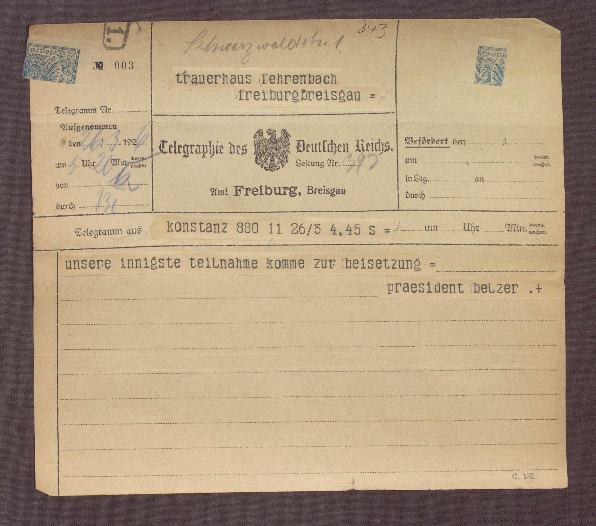 Beileidstelegramm von Emil Belzer zum Tod von Constantin Fehrenbach, Bild 1