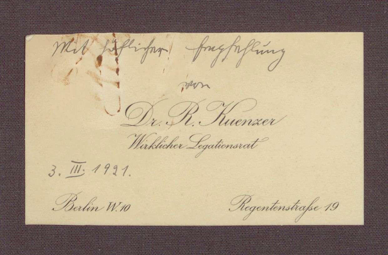 Visitenkarte von Richard Kuenzer mit kurzer Notiz, Bild 1