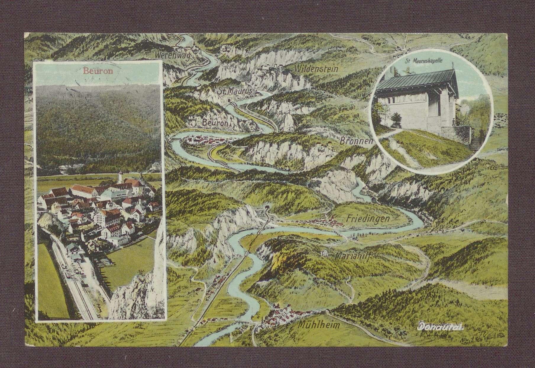 Postkarte, Motiv des Klosters Beuron, von Constantin Fehrenbach an Wilhelm Rosset, Bild 1