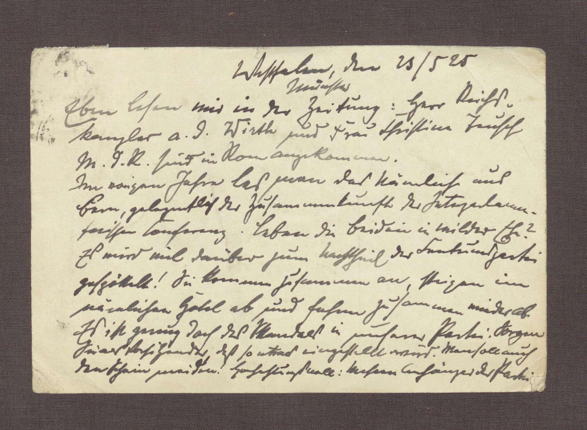 Postkarte an Constantin Fehrenbach, Kritik an einer gemeinsamen Reise von Joseph Wirth und Christine Teusch nach Rom, Bild 1