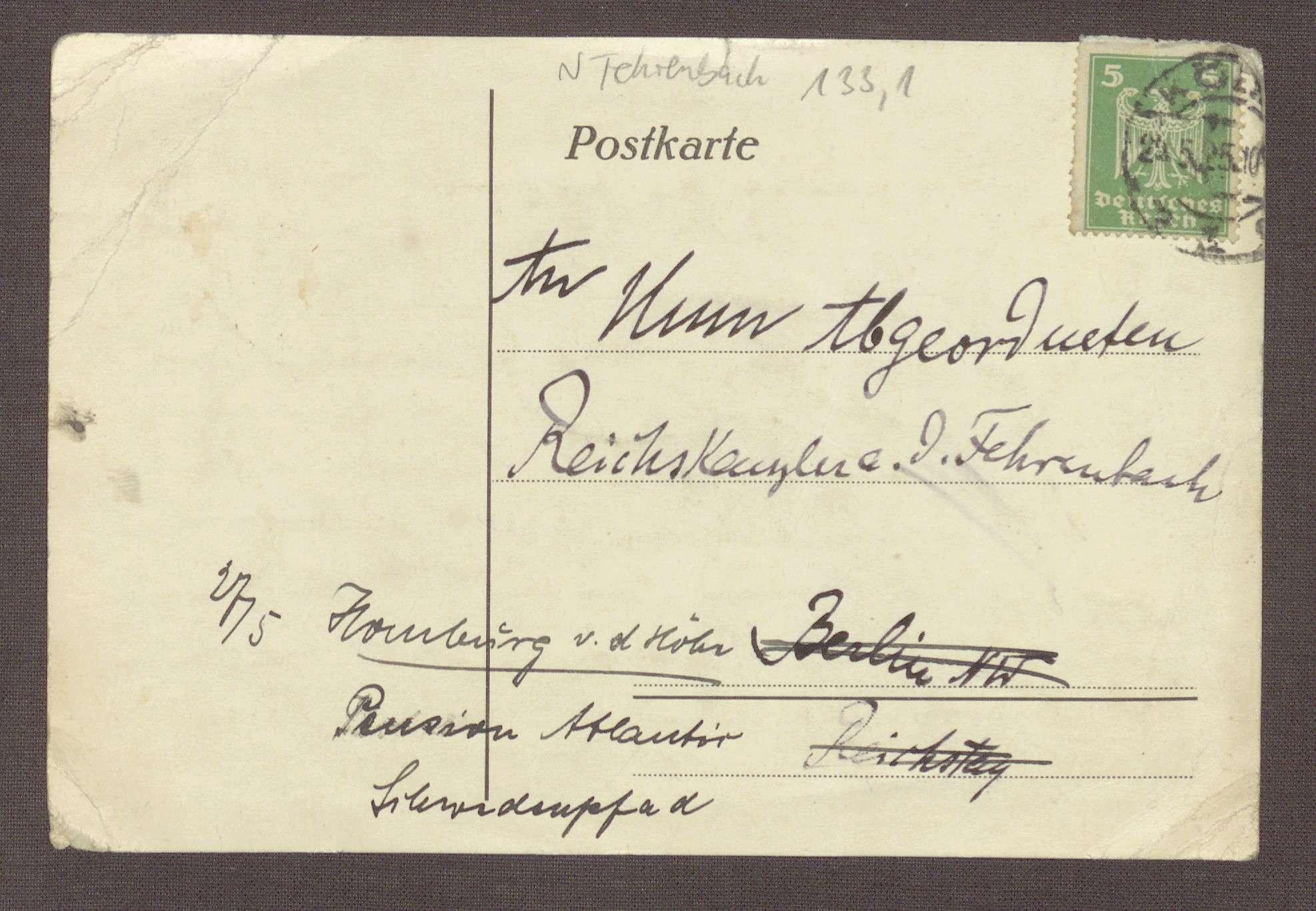 Postkarte an Constantin Fehrenbach, Kritik an einer gemeinsamen Reise von Joseph Wirth und Christine Teusch nach Rom, Bild 2