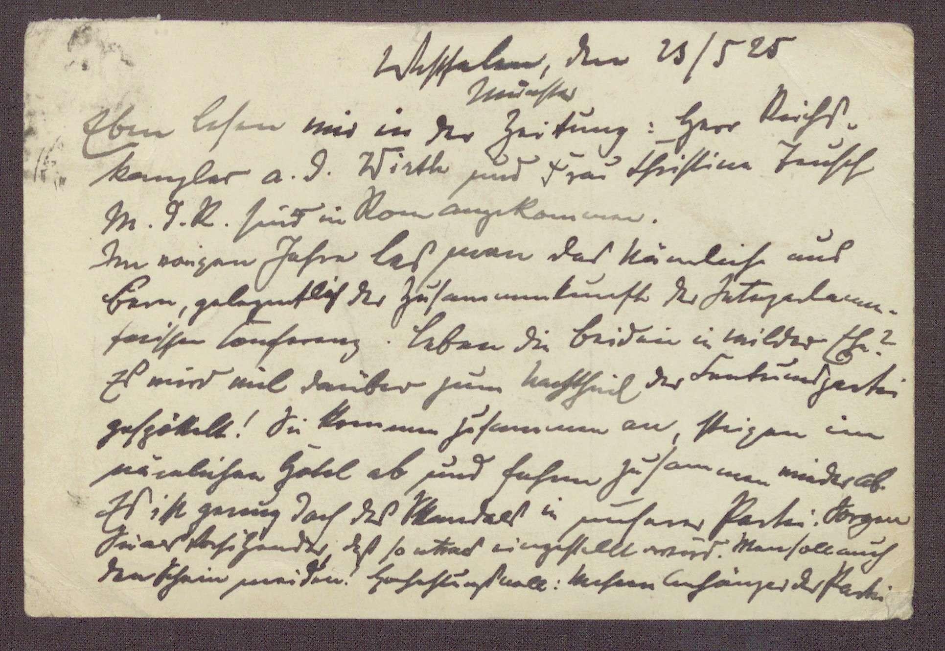 Postkarte an Constantin Fehrenbach, Kritik an einer gemeinsamen Reise von Joseph Wirth und Christine Teusch nach Rom, Bild 3