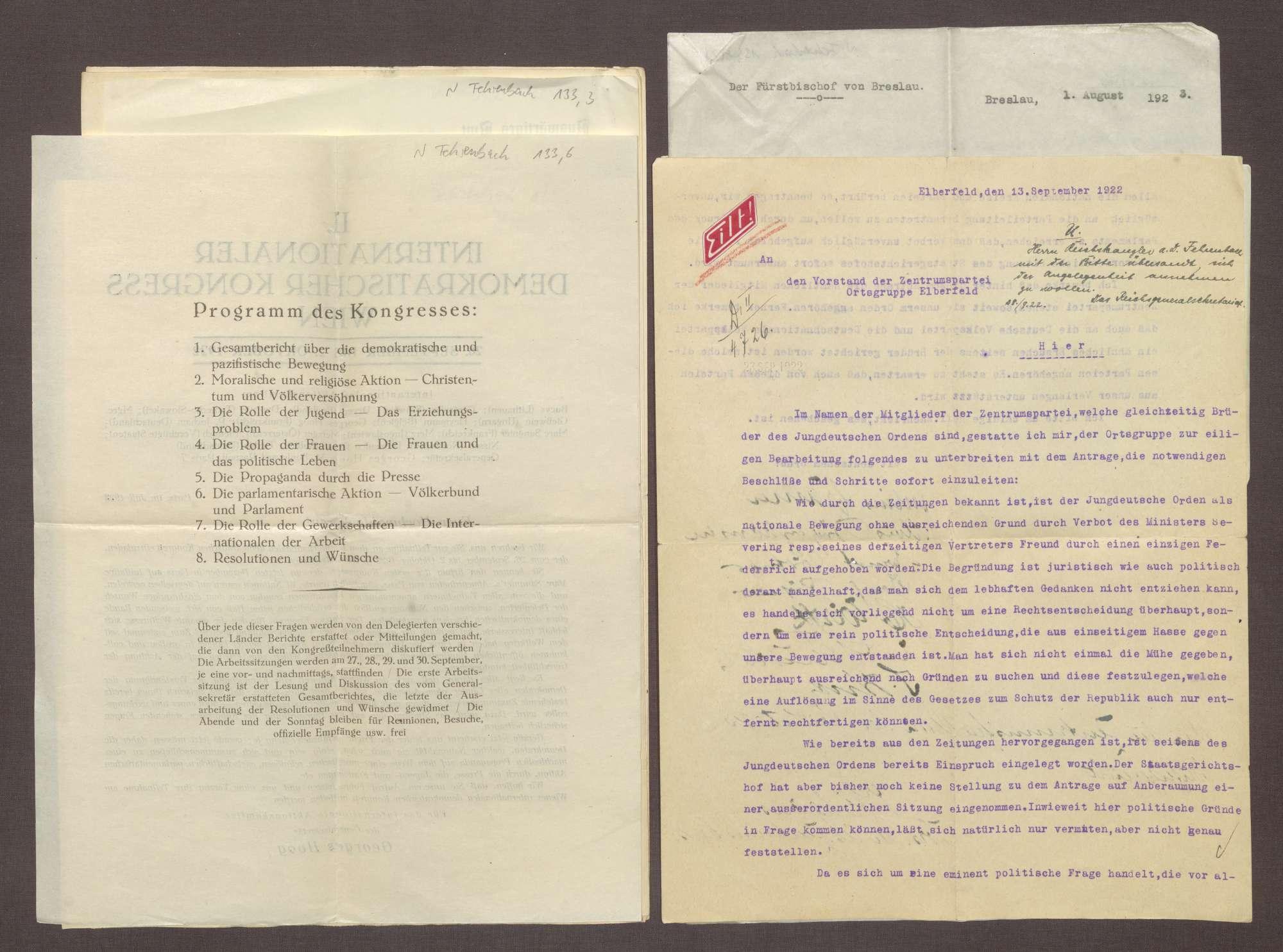Schreiben des Jungdeutschen Ordens an die Zentrumspartei, Ortsgruppe Elberfeld, Einspruch gegen das Verbot des Jungdeutschen Ordens, Bild 1